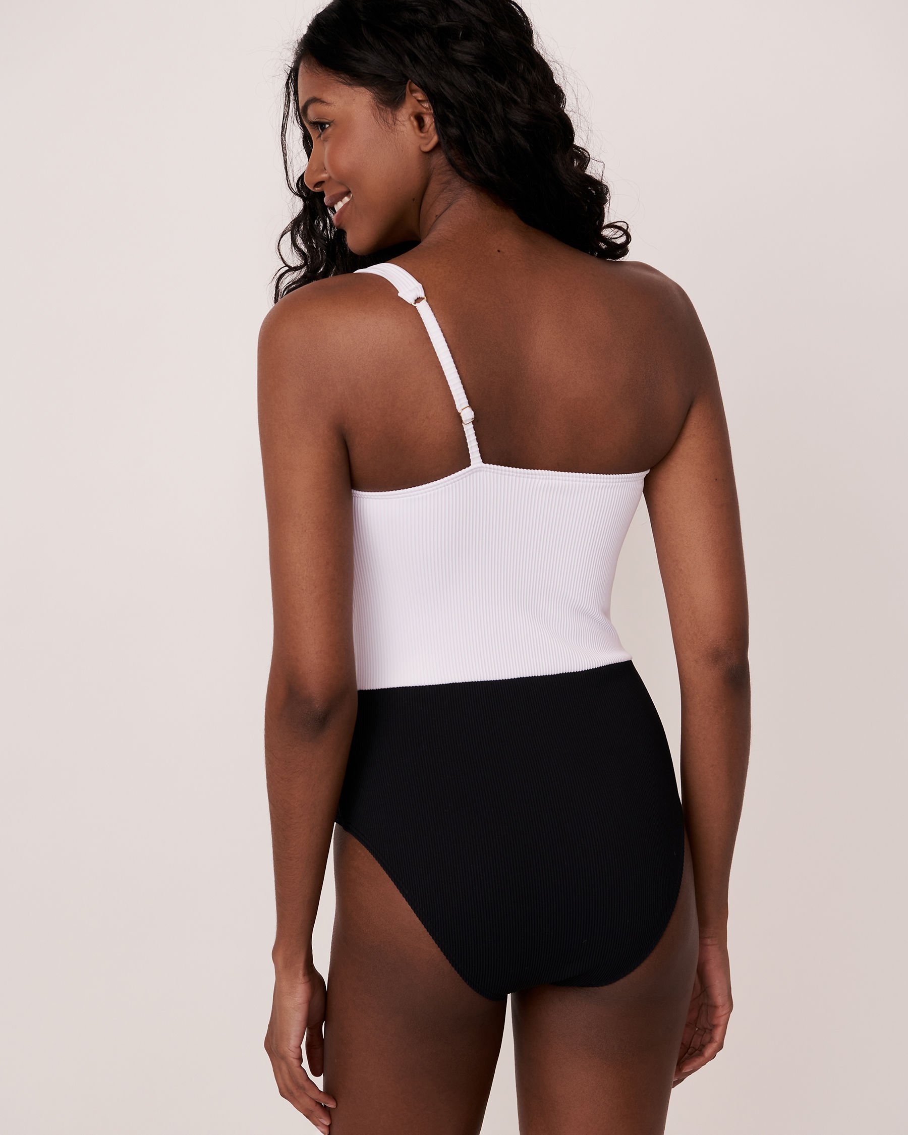 AQUAROSE ARIANNA Recycled Fibers One Shoulder One-piece Swimsuit Black 70400010 - View2