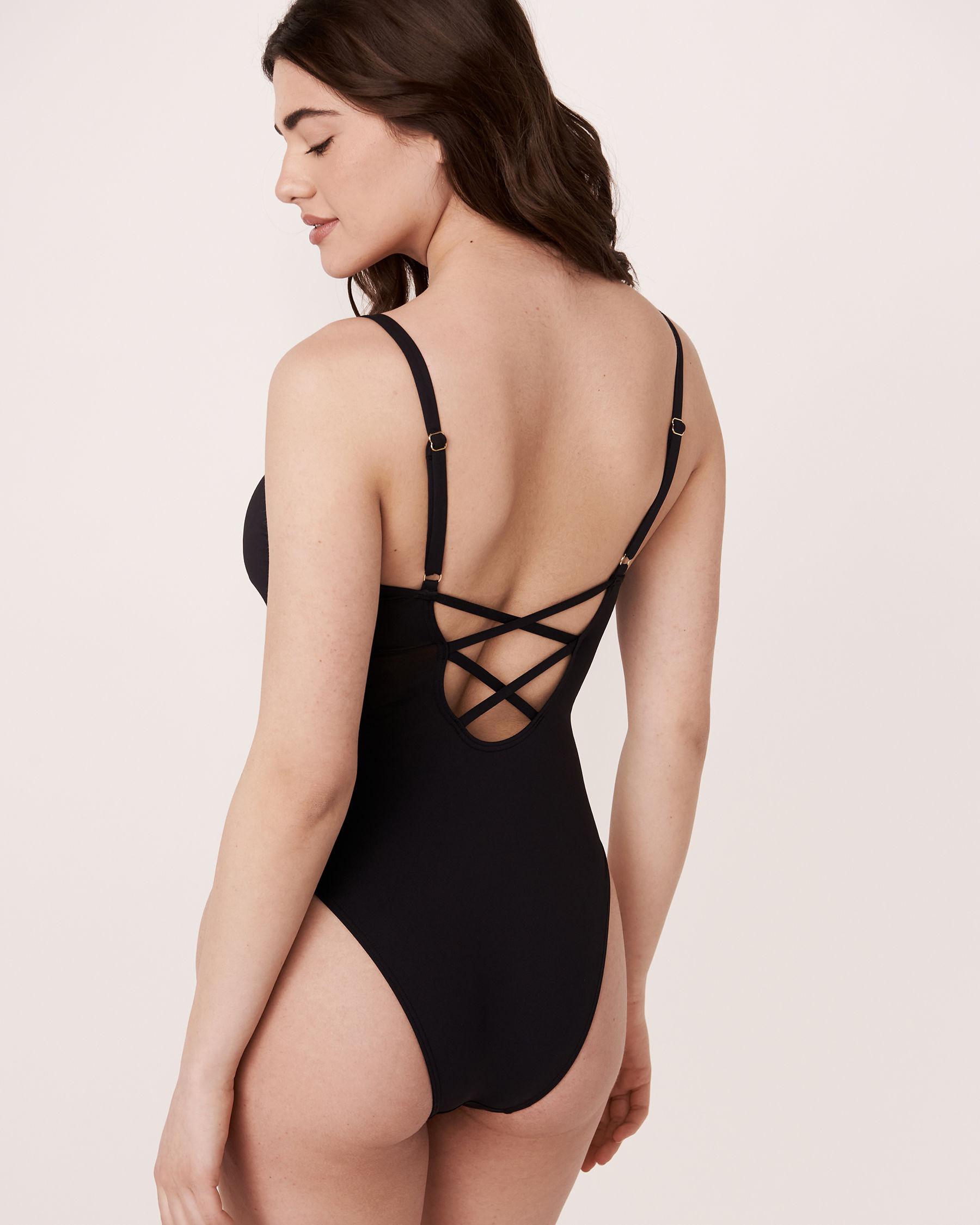 AQUAROSE LEILA Cross Back One-piece Swimsuit Black 70400015 - View3