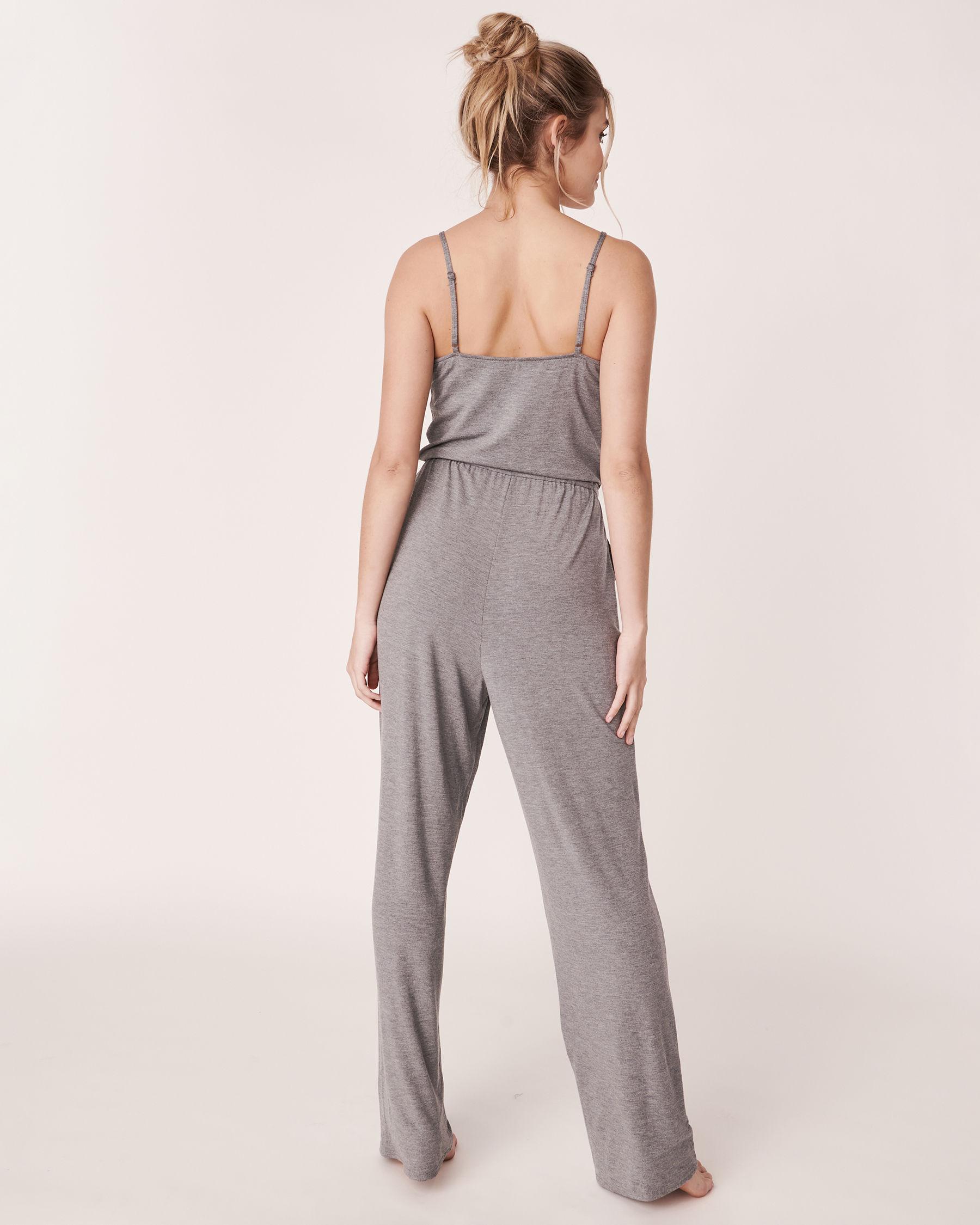 LA VIE EN ROSE Lace Trim Thin Straps Jumpsuit Charcoal mix 50300003 - View2