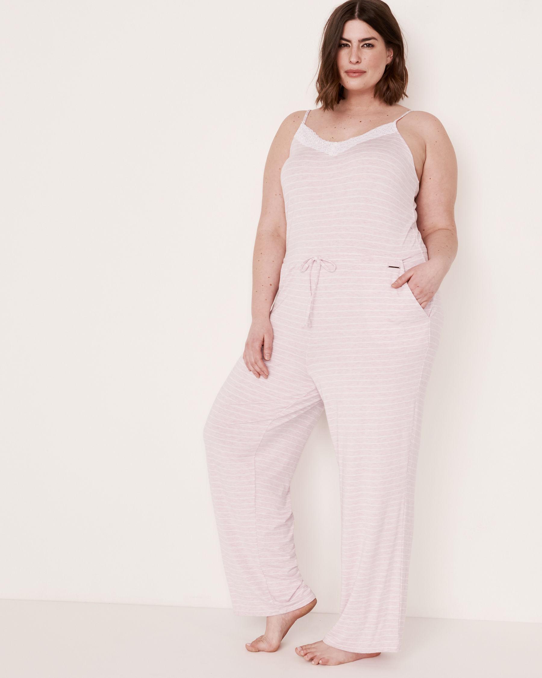 LA VIE EN ROSE Lace Trim Thin Straps Jumpsuit Stripes 50300003 - View1