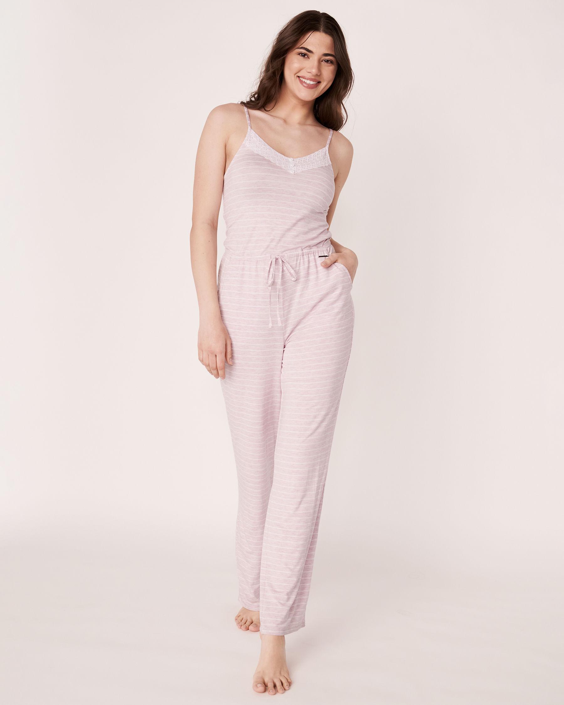 LA VIE EN ROSE Lace Trim Thin Straps Jumpsuit Stripes 50300003 - View3