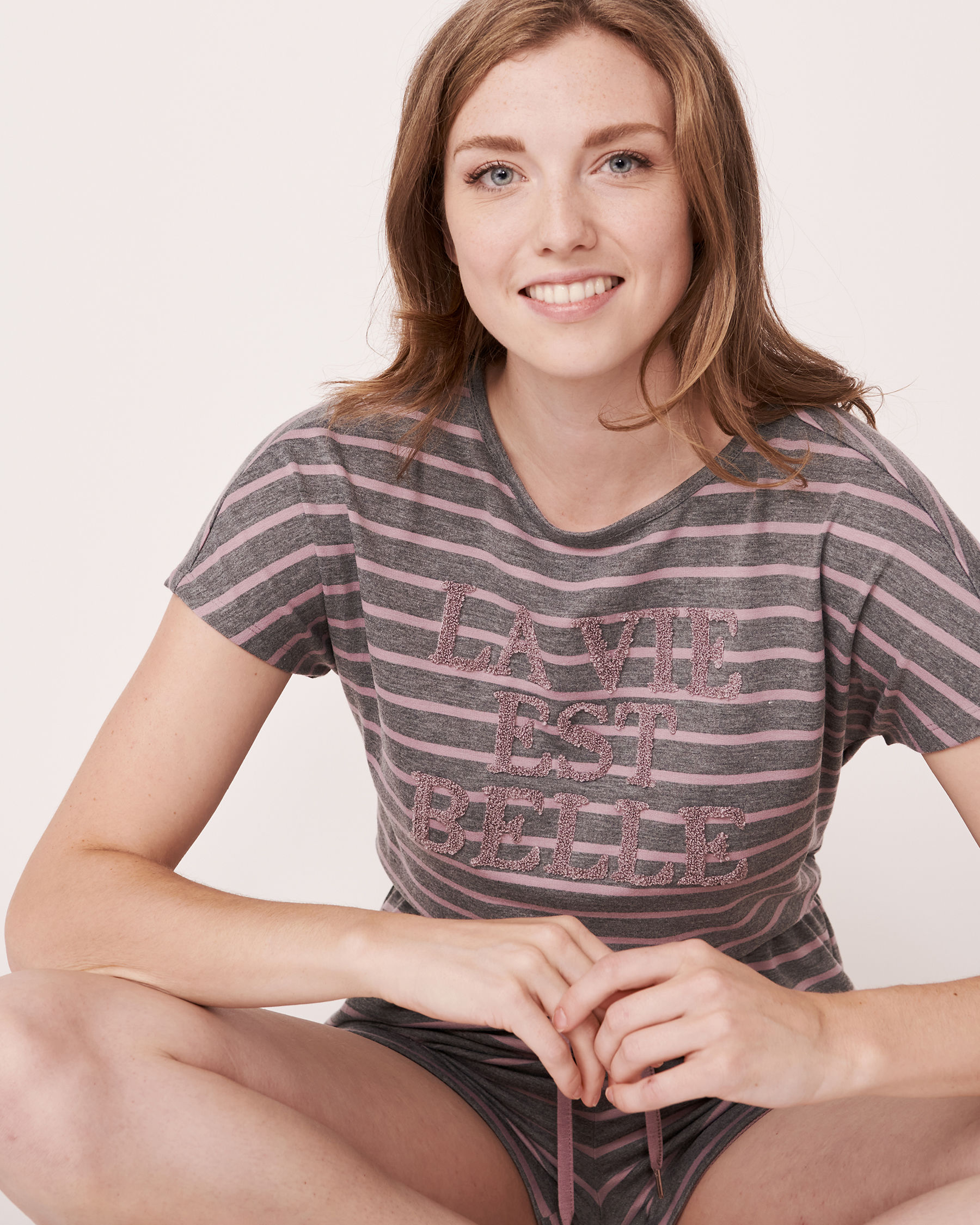 LA VIE EN ROSE Striped Romper Grey and pink mix 768-374-1-11 - View1