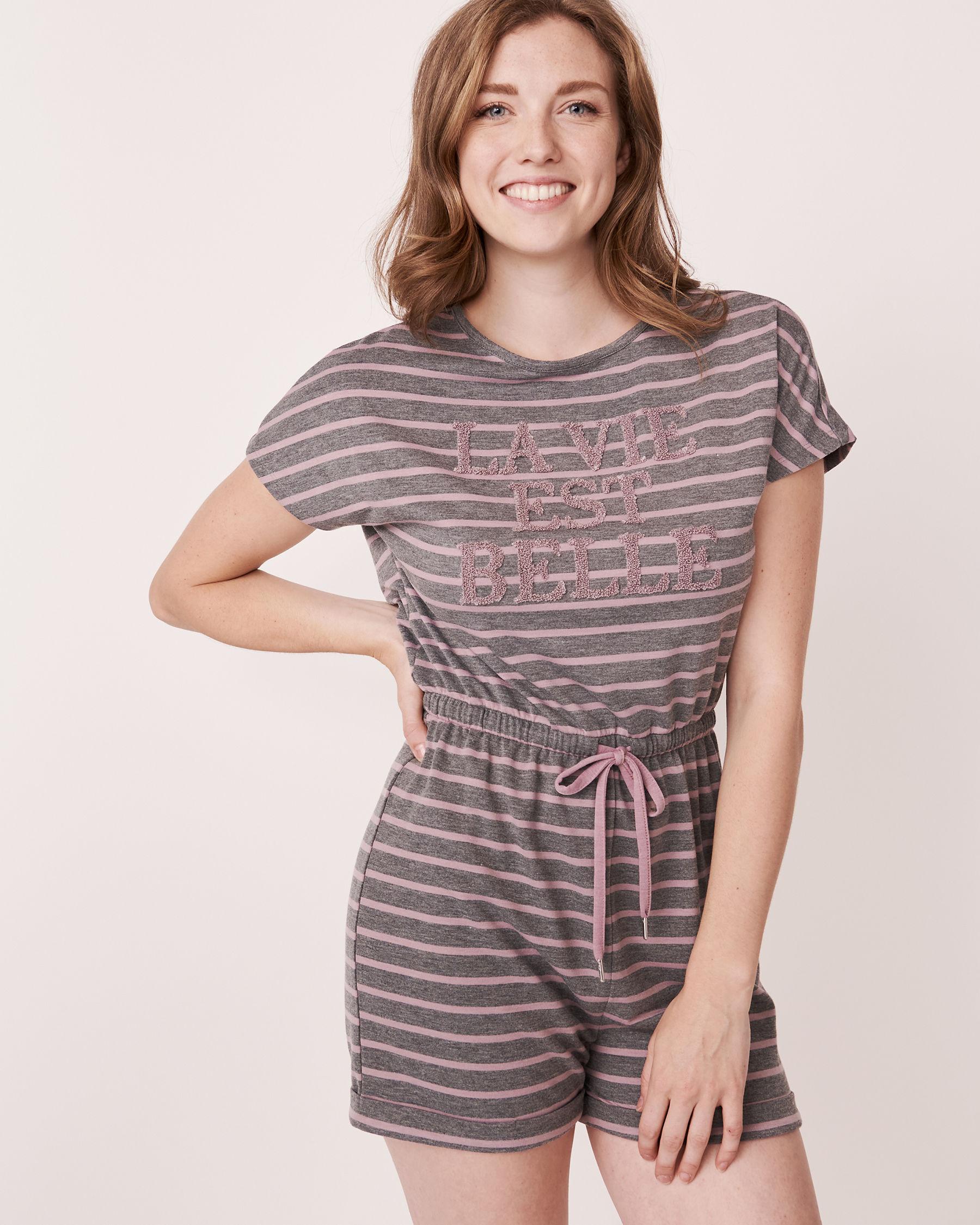 LA VIE EN ROSE Striped Romper Grey and pink mix 768-374-1-11 - View2