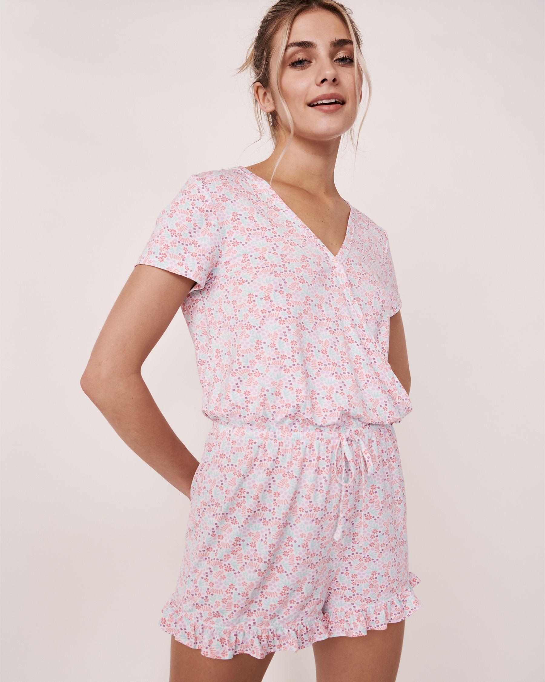 LA VIE EN ROSE Ruffle Details Short Sleeve Romper Ditsy floral 40300012 - View1