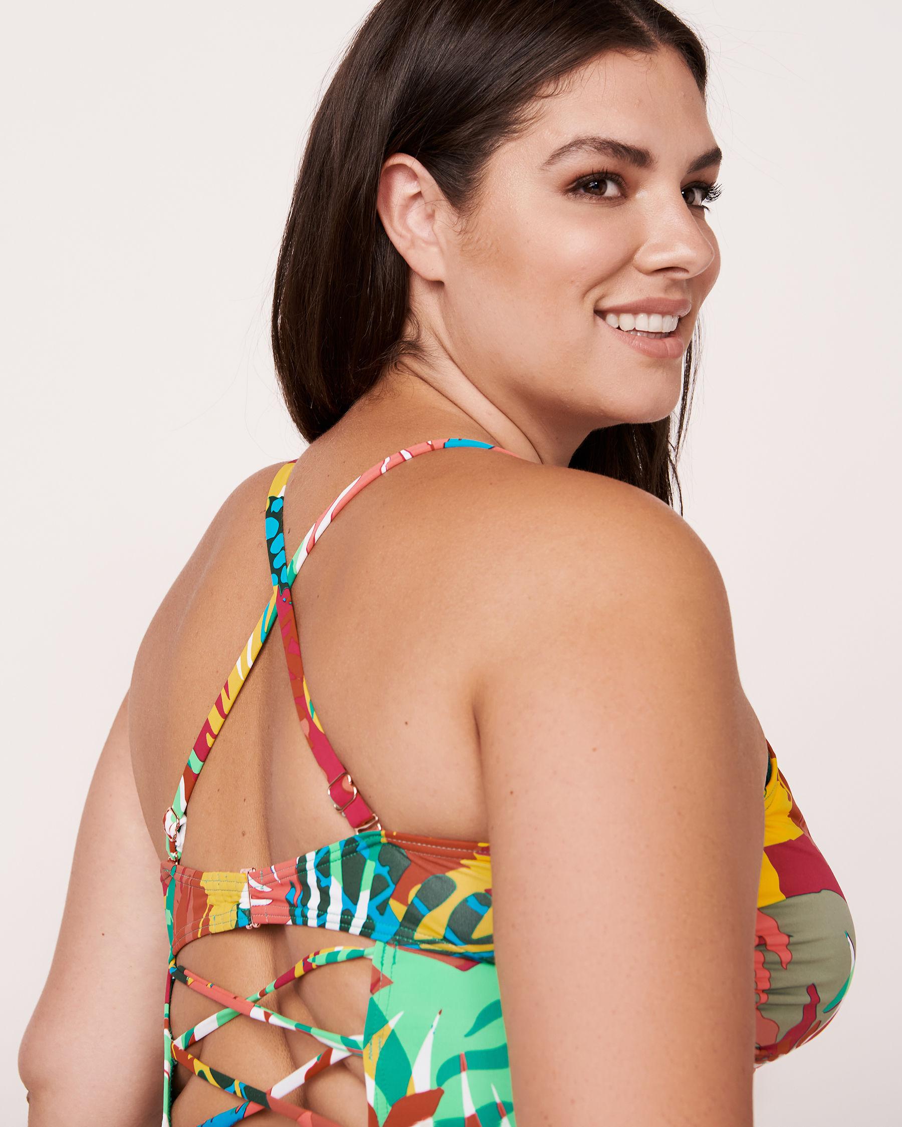 AQUAROSE FAUVE Laced Back One-piece Swimsuit Fauve print 566-632-0-04 - View3