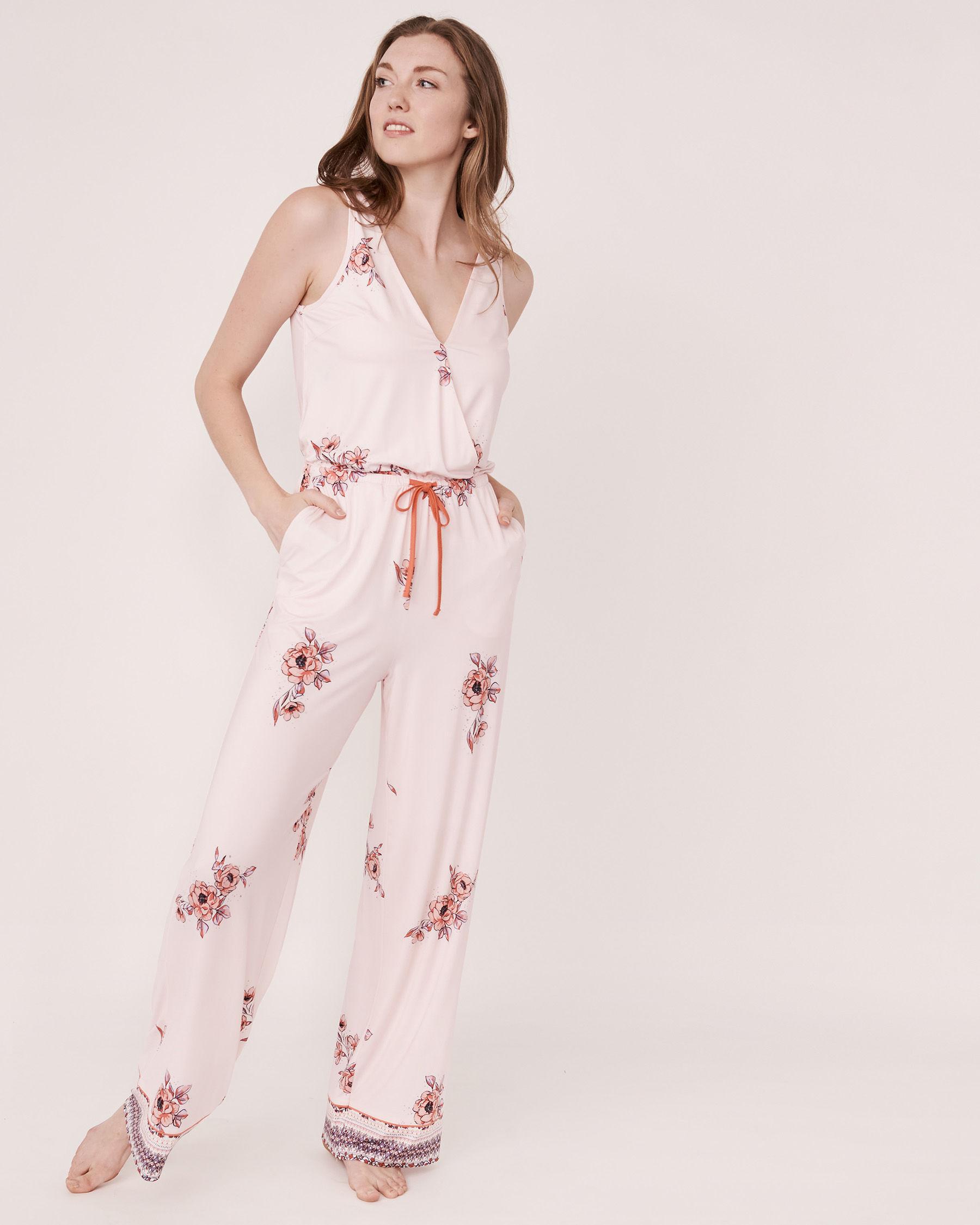LA VIE EN ROSE Combinaison longue jambe large en fibres recyclées Imprimé floral 40300014 - Voir1