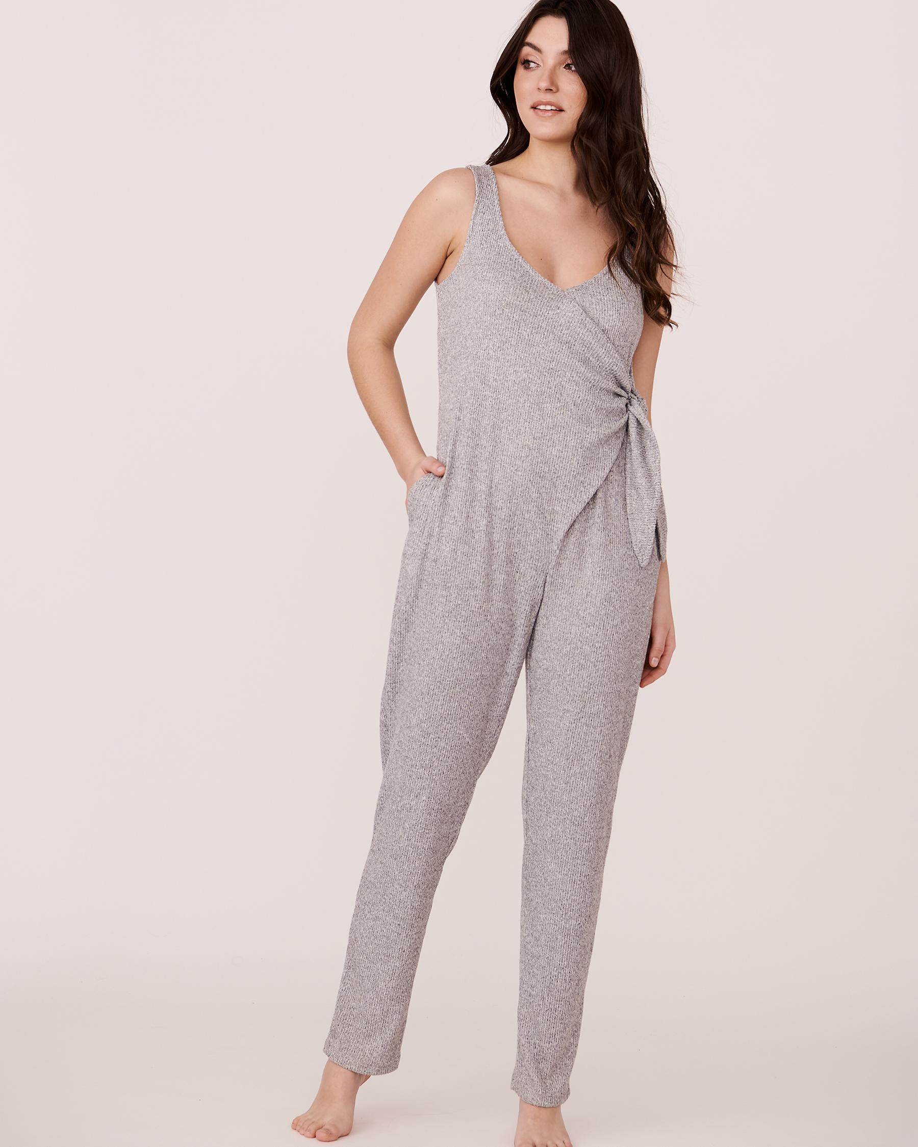 LA VIE EN ROSE Ribbed V-Neckline Jumpsuit Grey 774-474-2-04 - View1