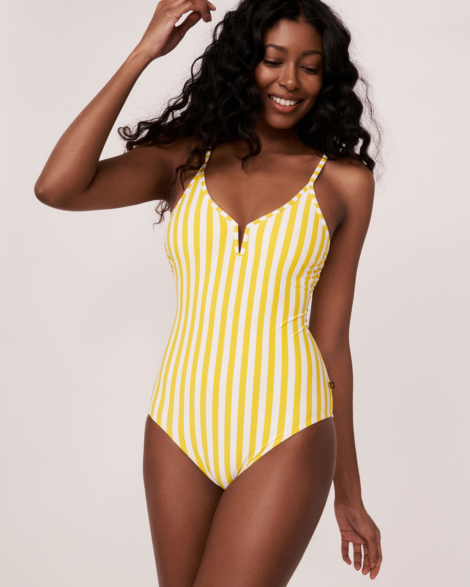 AQUAROSE YELLOW SUBMARINE Recycled Fibers One-piece Swimsuit Yellow and white stripes 70400016 - View1