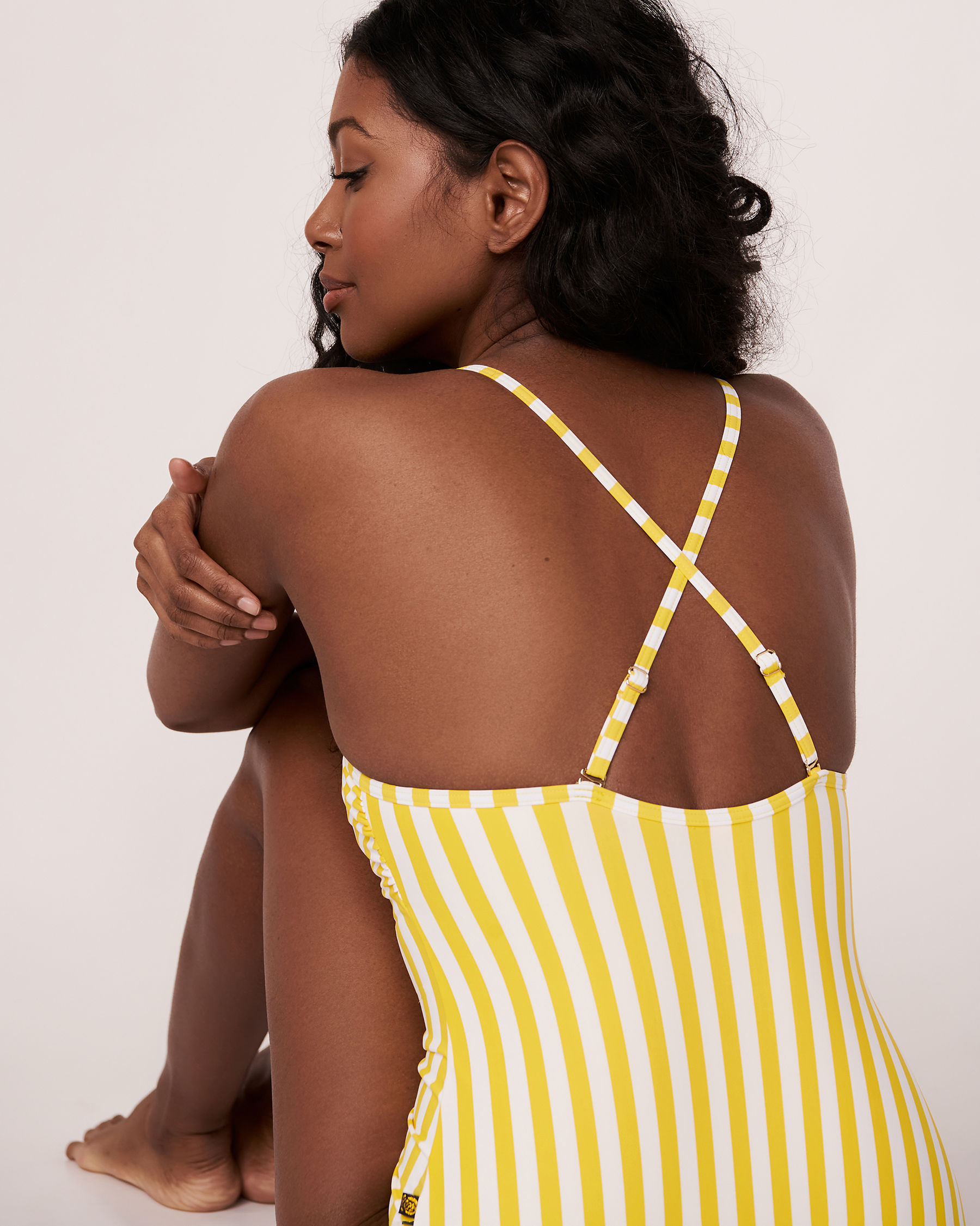 AQUAROSE YELLOW SUBMARINE Recycled Fibers One-piece Swimsuit Yellow and white stripes 70400016 - View3