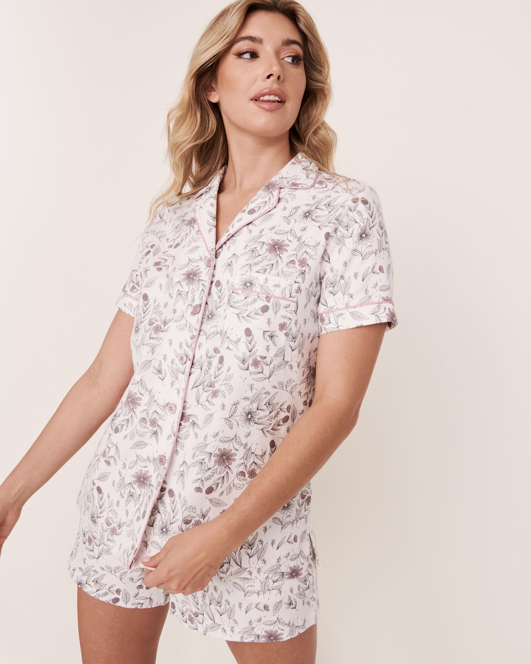 LA VIE EN ROSE Ensemble pyjama short en flanelle Feuillage 40400011 - Voir1