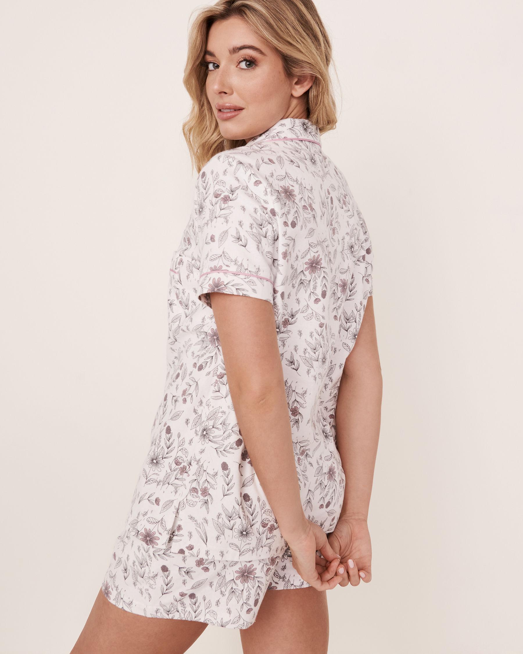 LA VIE EN ROSE Ensemble pyjama short en flanelle Feuillage 40400011 - Voir2