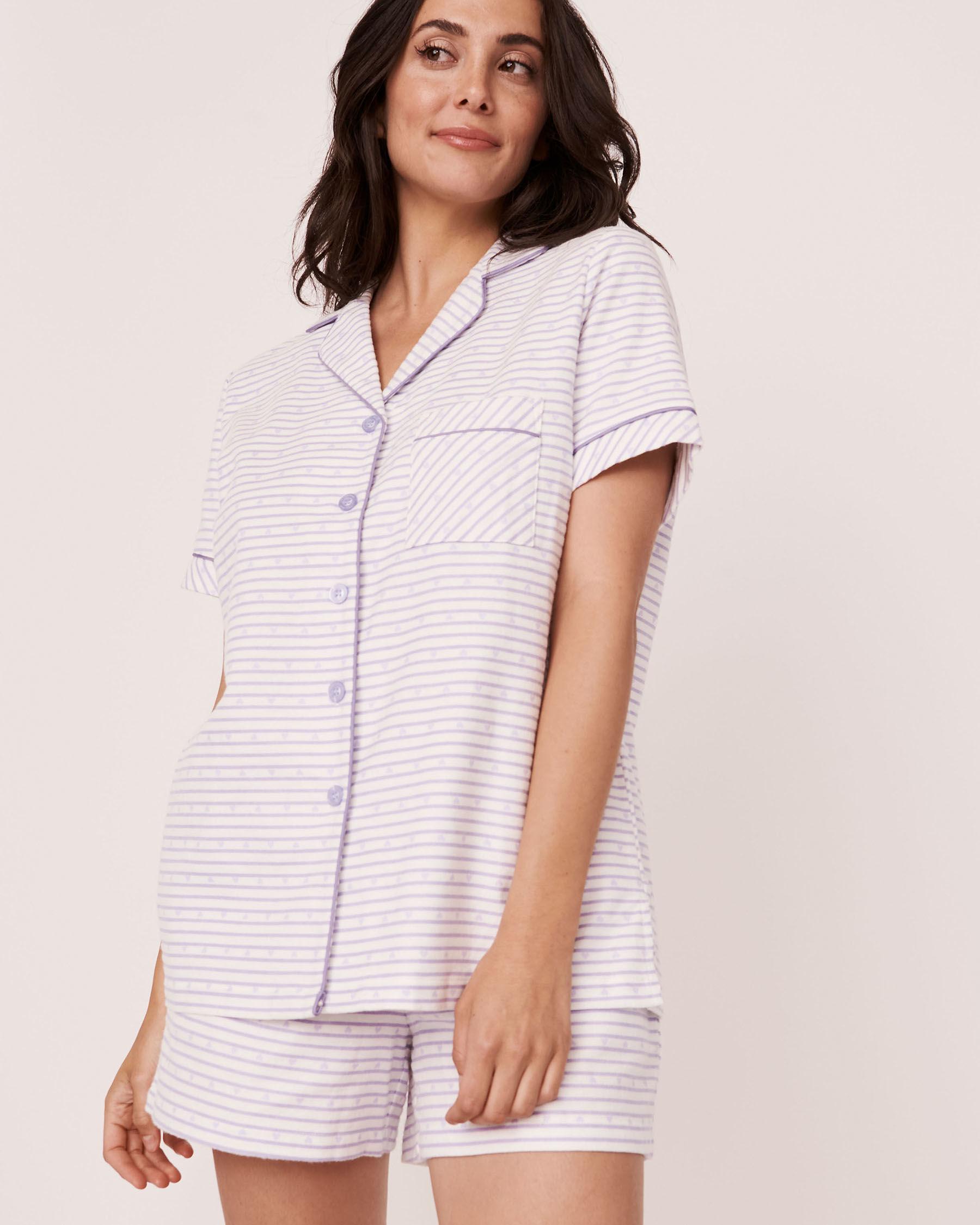 LA VIE EN ROSE Flannel Short PJ Set Stripes 40400011 - View1