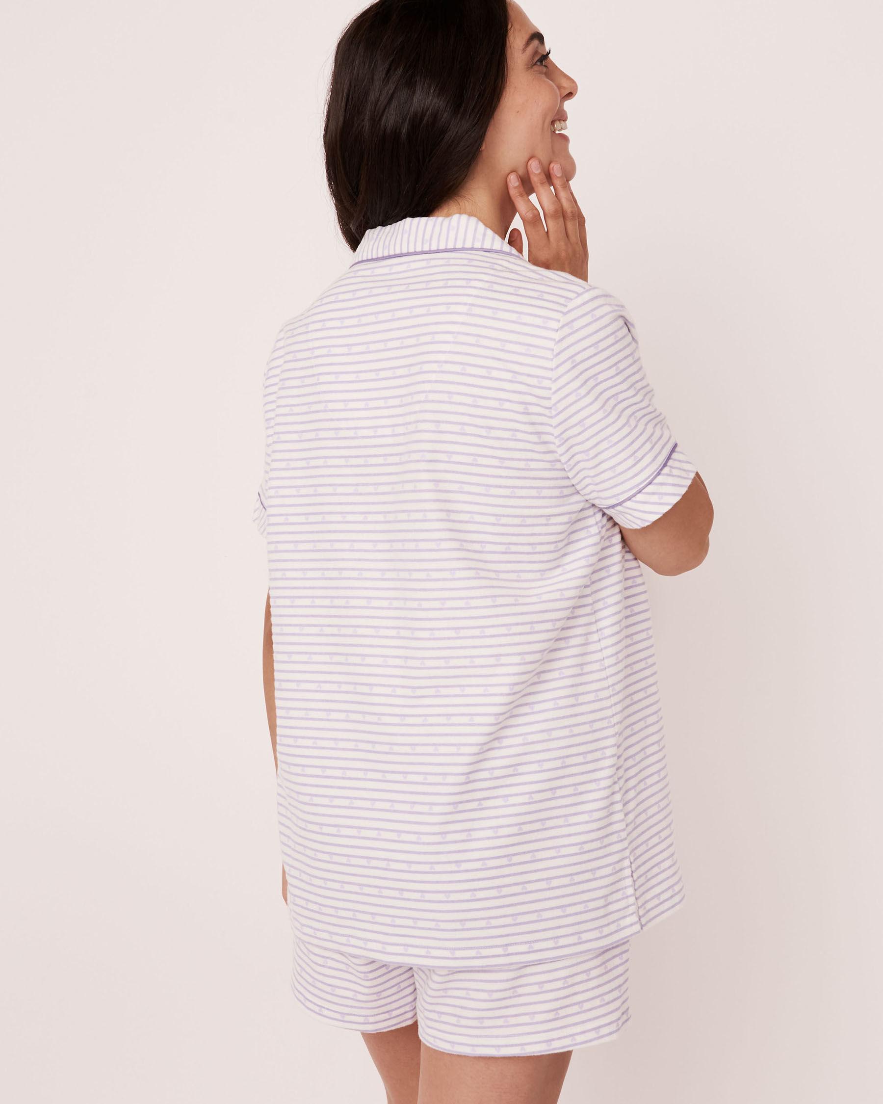 LA VIE EN ROSE Flannel Short PJ Set Stripes 40400011 - View2