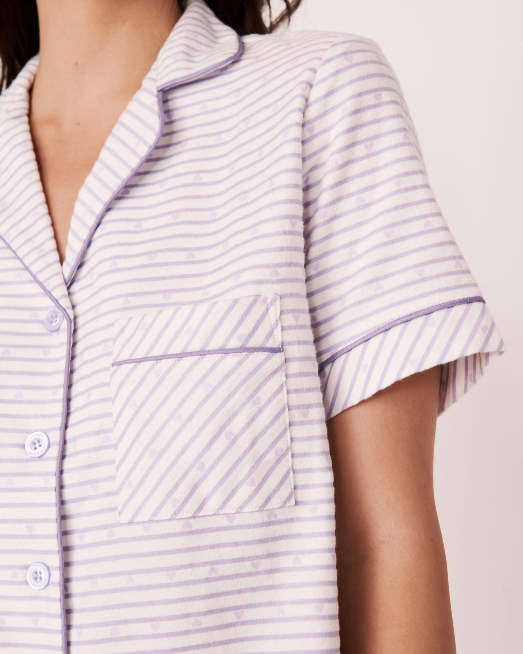 LA VIE EN ROSE Flannel Short PJ Set Stripes 40400011 - View3