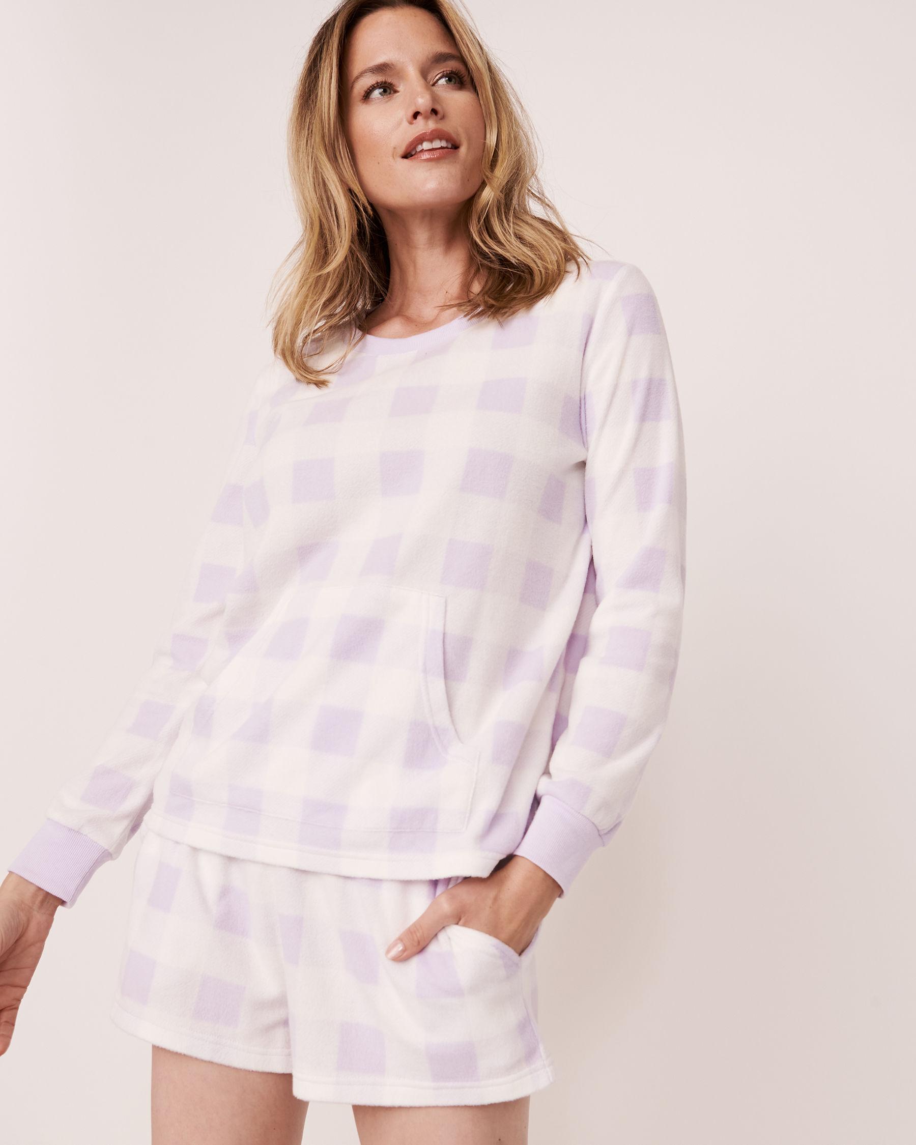 LA VIE EN ROSE Ensemble pyjama short en micropolaire Vichy mauve 40400014 - Voir1