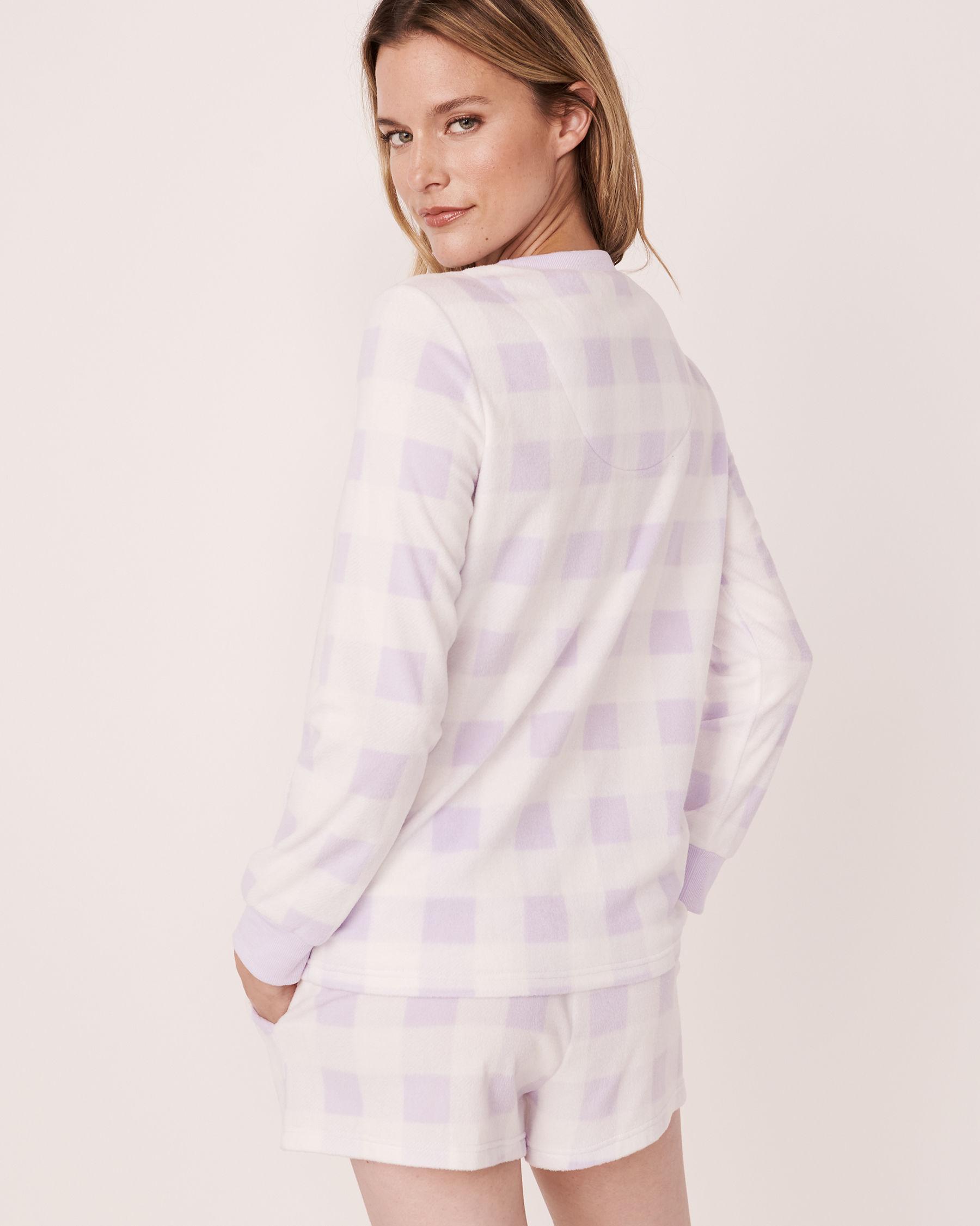 LA VIE EN ROSE Ensemble pyjama short en micropolaire Vichy mauve 40400014 - Voir2