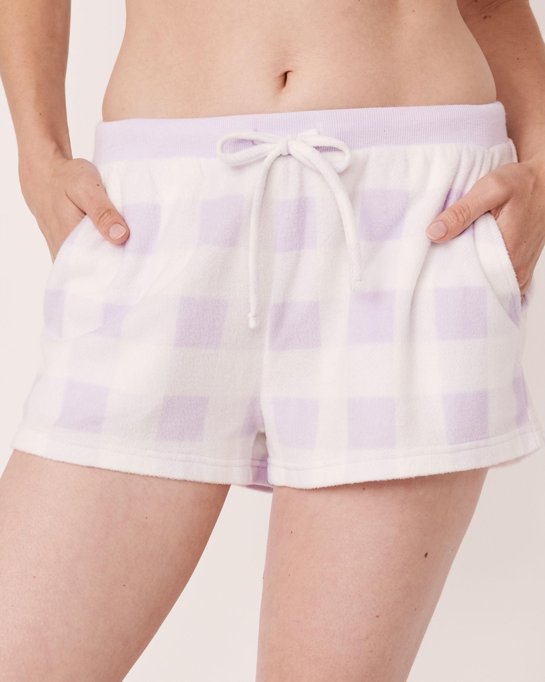 LA VIE EN ROSE Ensemble pyjama short en micropolaire Vichy mauve 40400014 - Voir3