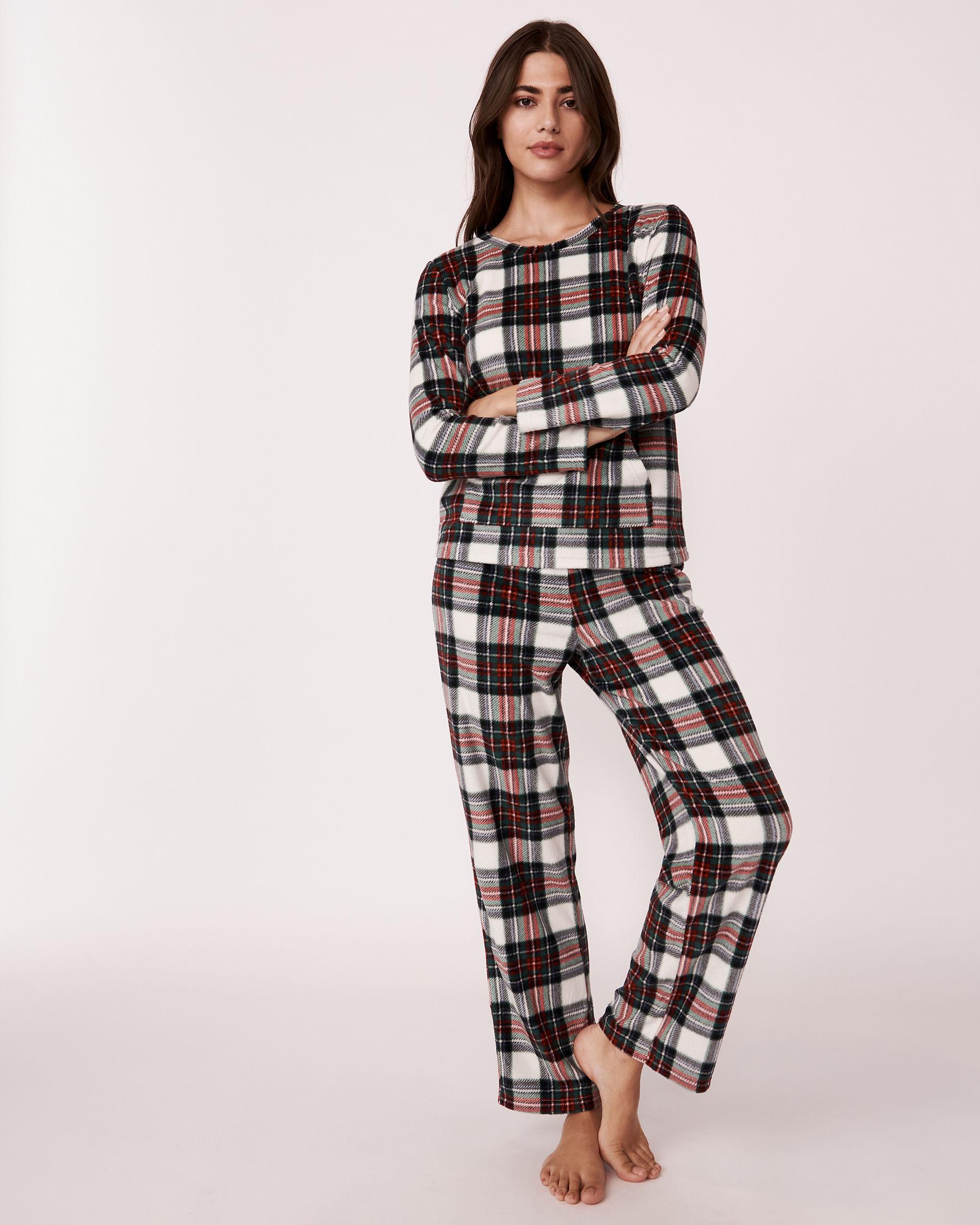LA VIE EN ROSE Ensemble pyjama en micropolaire Tartan blanc 263-310-0-09 - Voir3