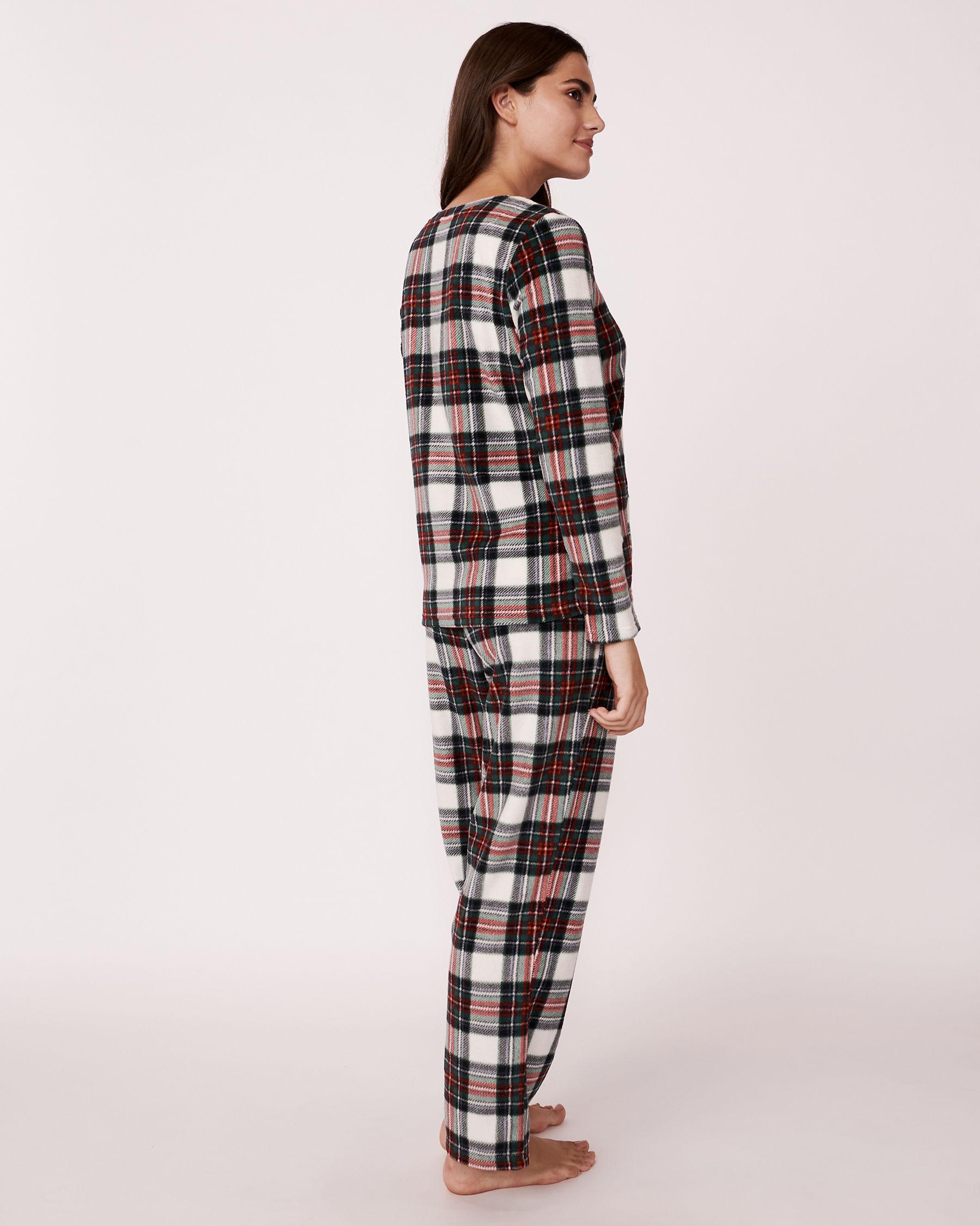 LA VIE EN ROSE Ensemble pyjama en micropolaire Tartan blanc 263-310-0-09 - Voir2