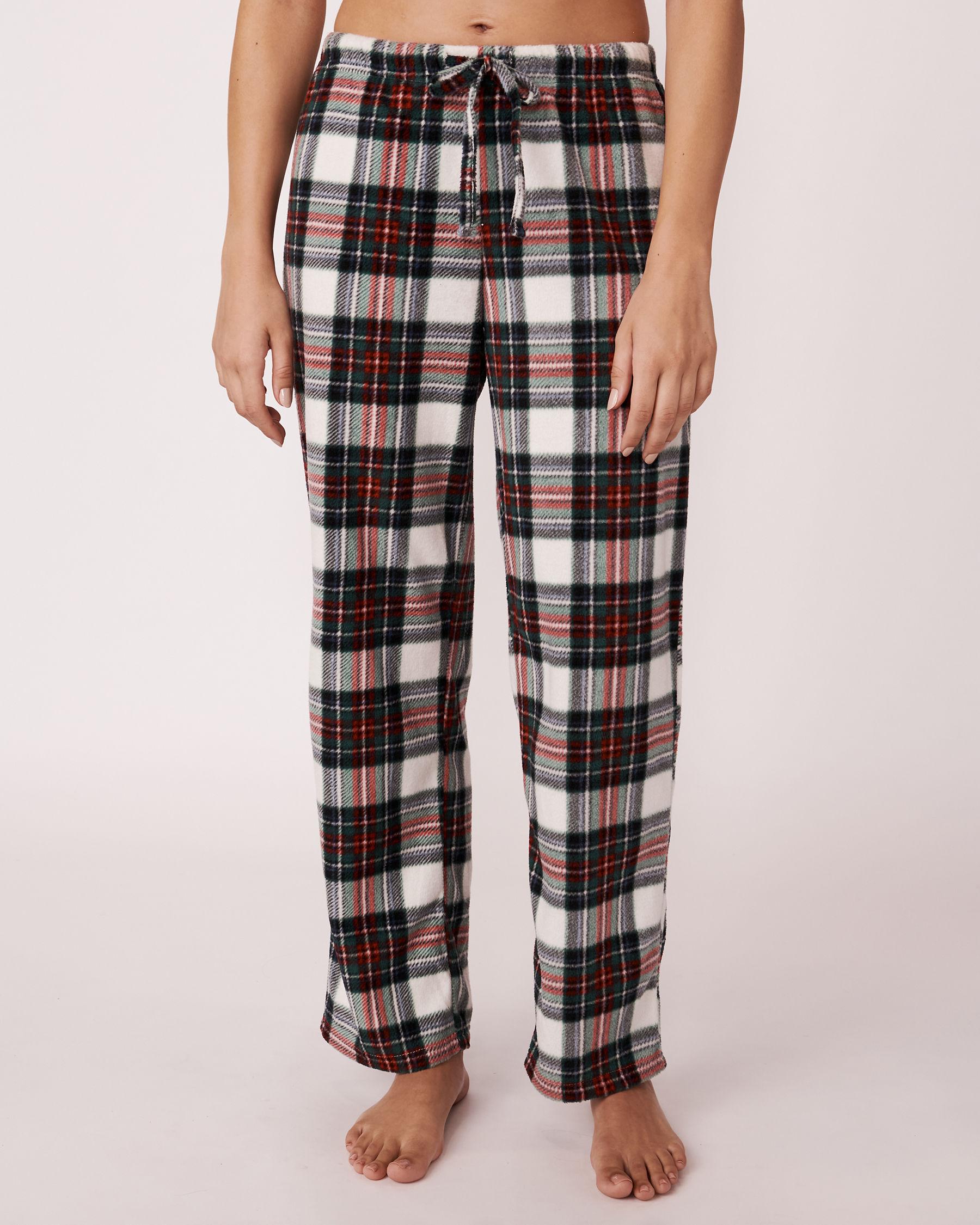 LA VIE EN ROSE Ensemble pyjama en micropolaire Tartan blanc 263-310-0-09 - Voir4