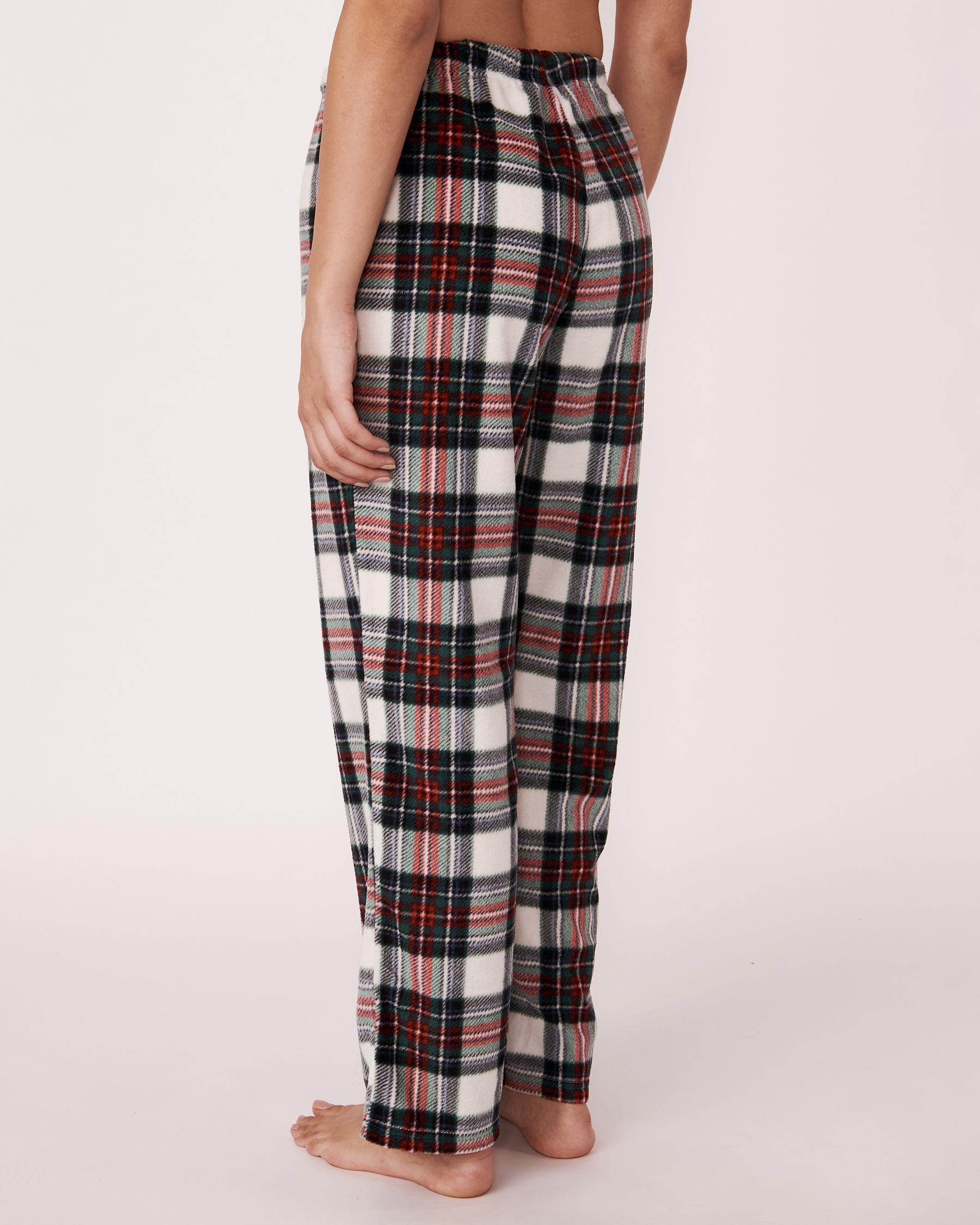 LA VIE EN ROSE Ensemble pyjama en micropolaire Tartan blanc 263-310-0-09 - Voir5