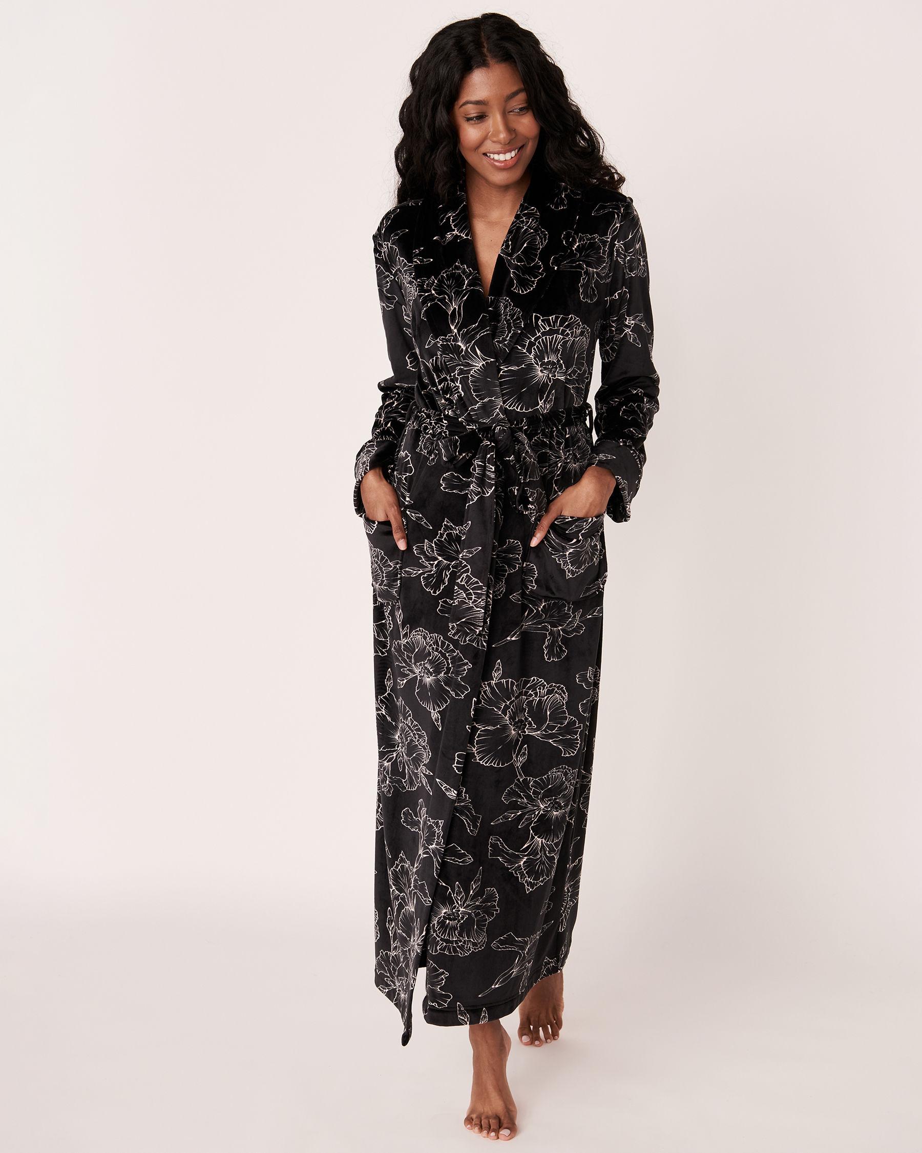 LA VIE EN ROSE Long Velvet Robe Black flower 40600022 - View1
