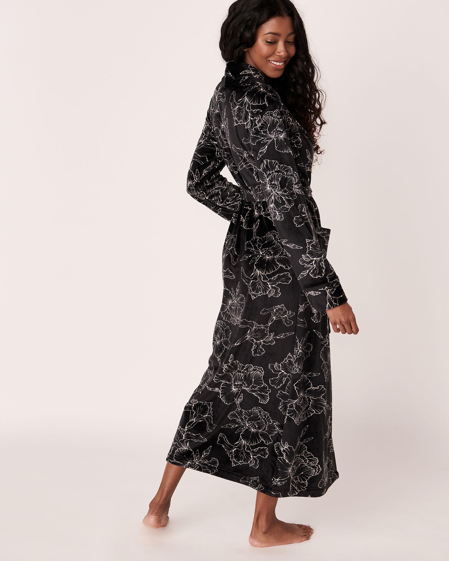LA VIE EN ROSE Long Velvet Robe Black flower 40600022 - View3