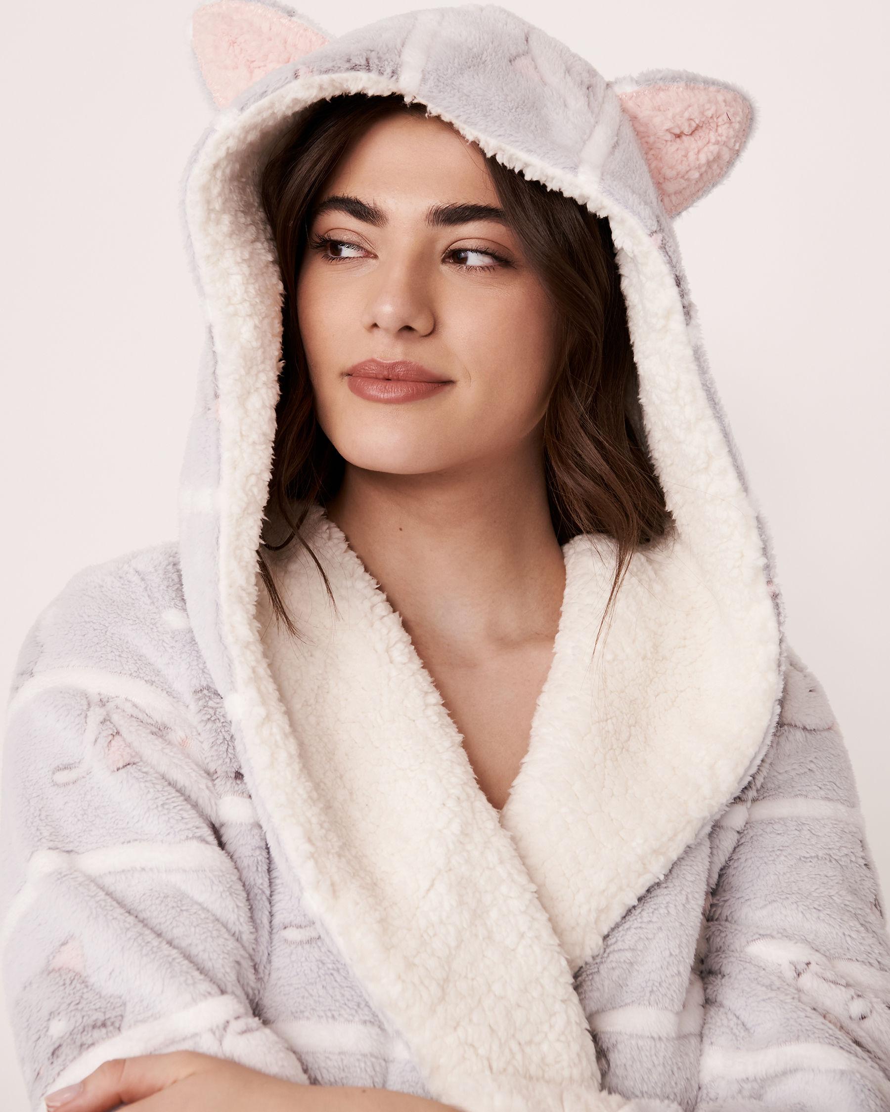 LA VIE EN ROSE Ultra Soft Plush Robe Cats 40600023 - View1