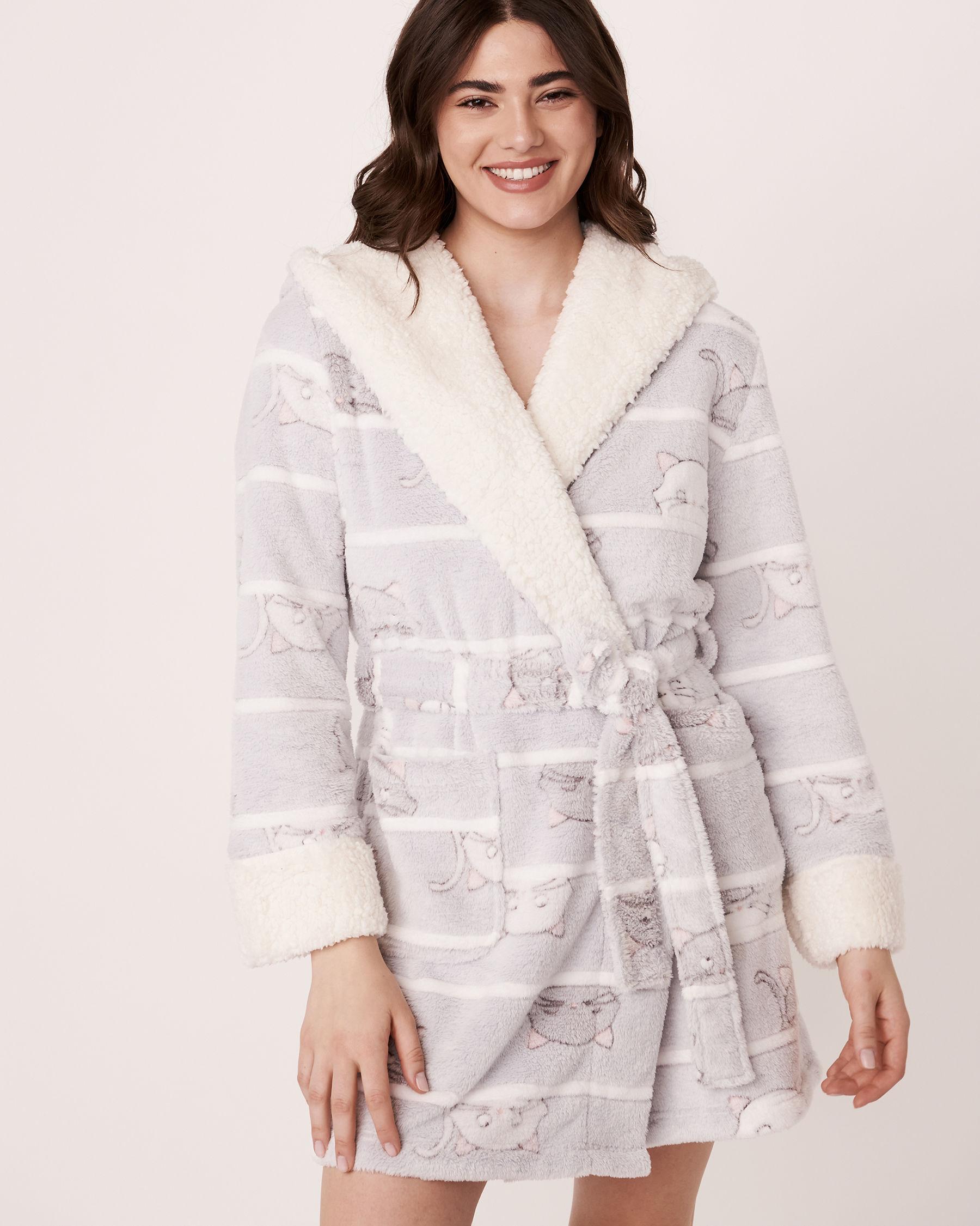 LA VIE EN ROSE Ultra Soft Plush Robe Cats 40600023 - View2