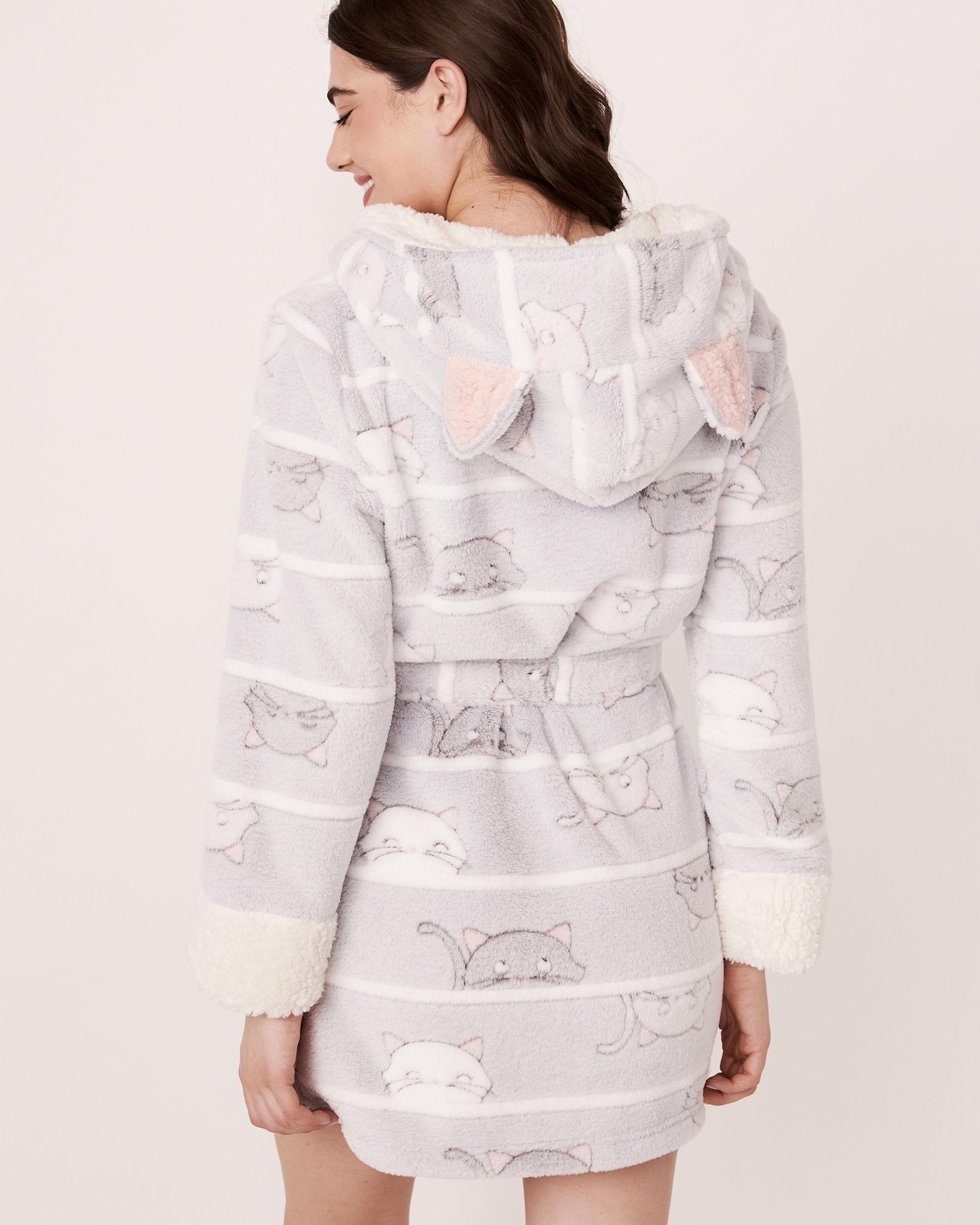 LA VIE EN ROSE Ultra Soft Plush Robe Cats 40600023 - View3