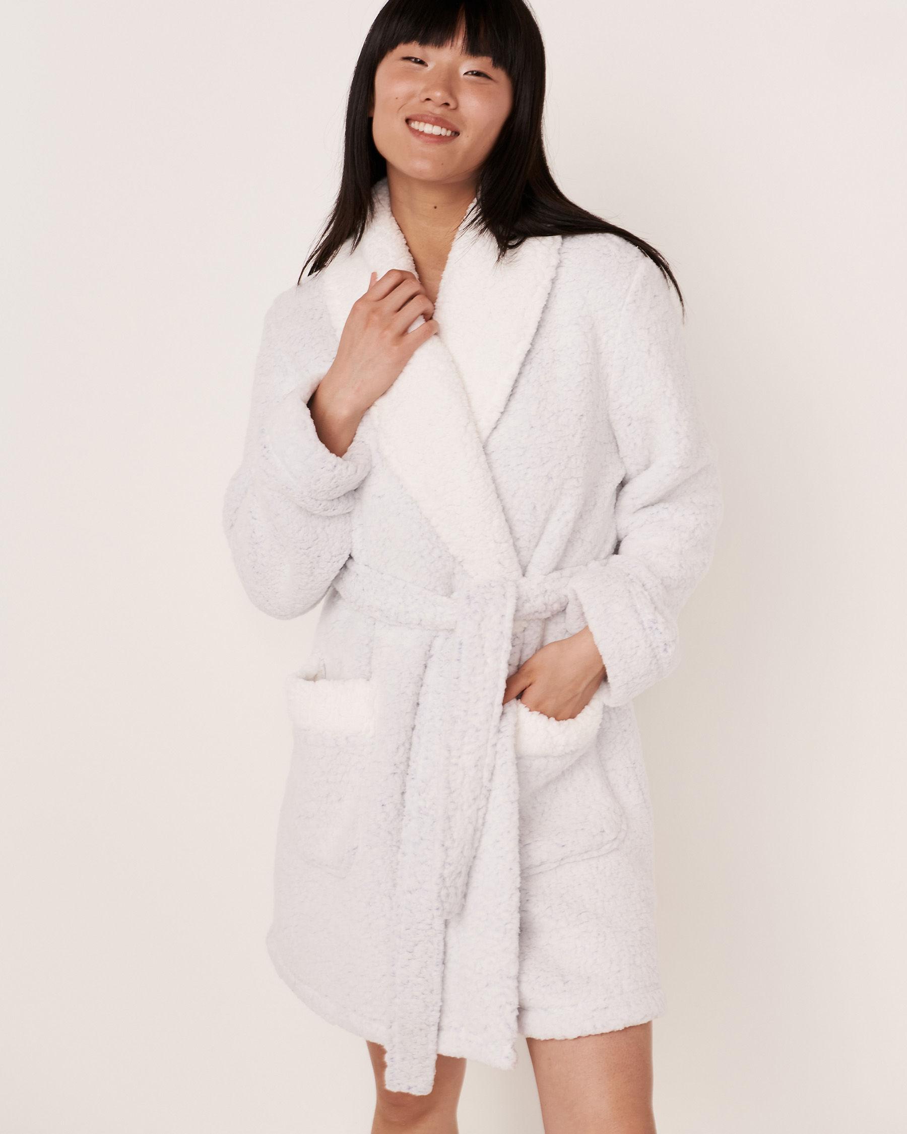 LA VIE EN ROSE Fluffy Sherpa Robe Blue 40600041 - View1