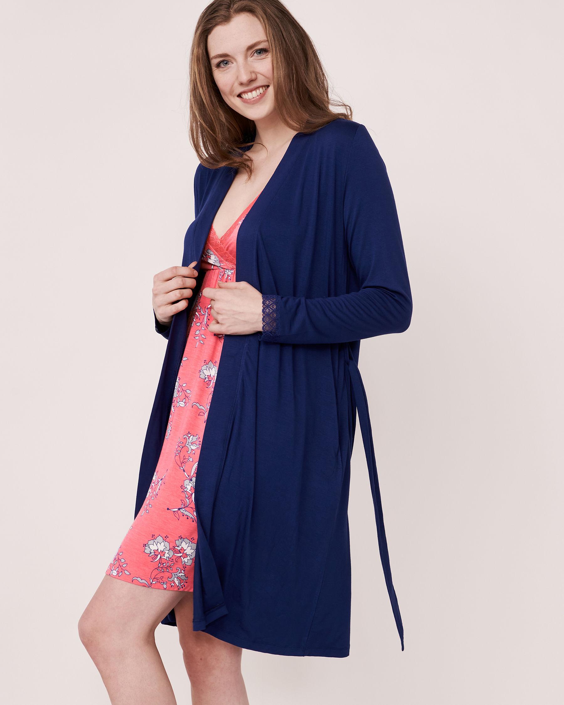 LA VIE EN ROSE Lace Trim Robe Blue 40600006 - View2