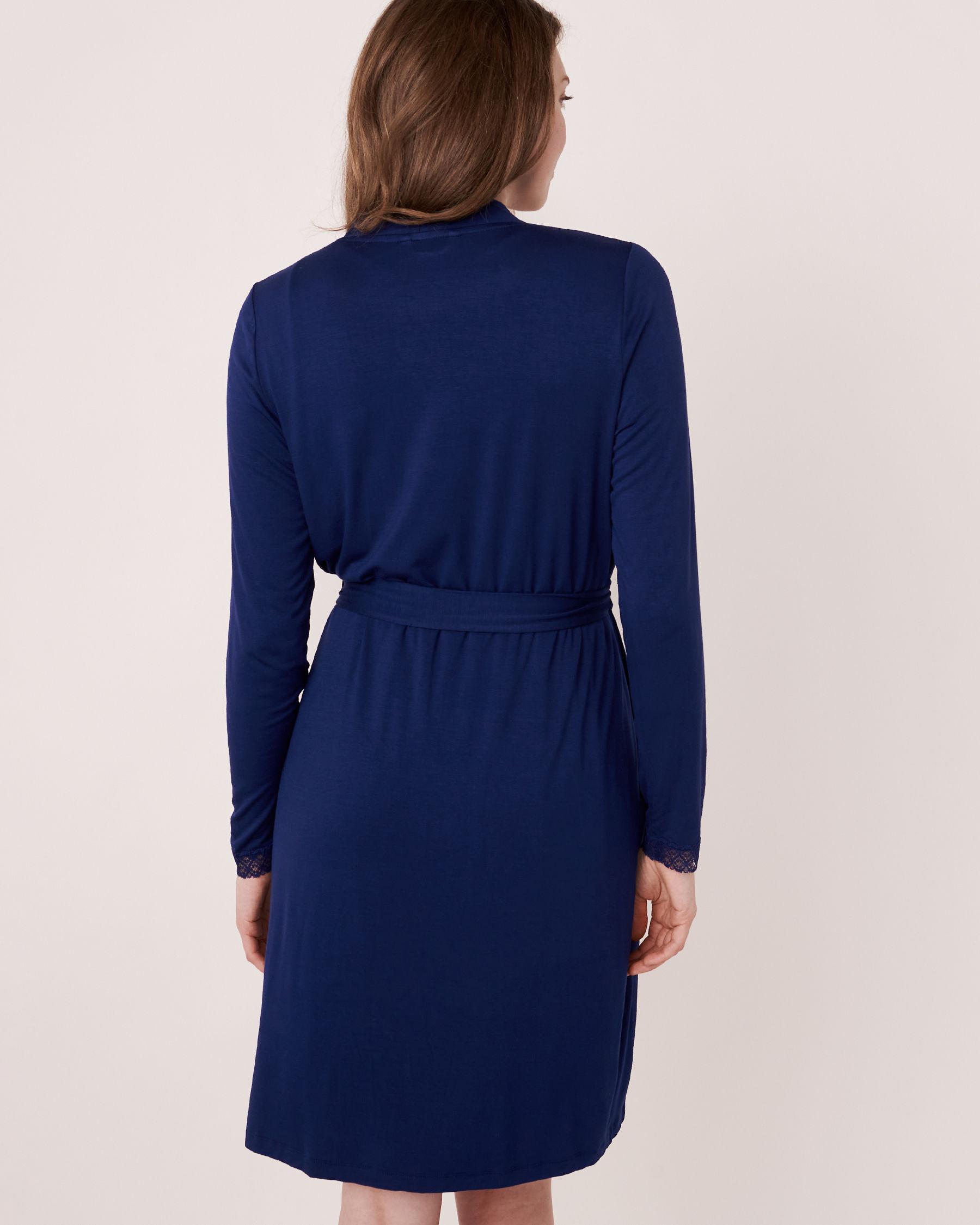 LA VIE EN ROSE Lace Trim Robe Blue 40600006 - View4