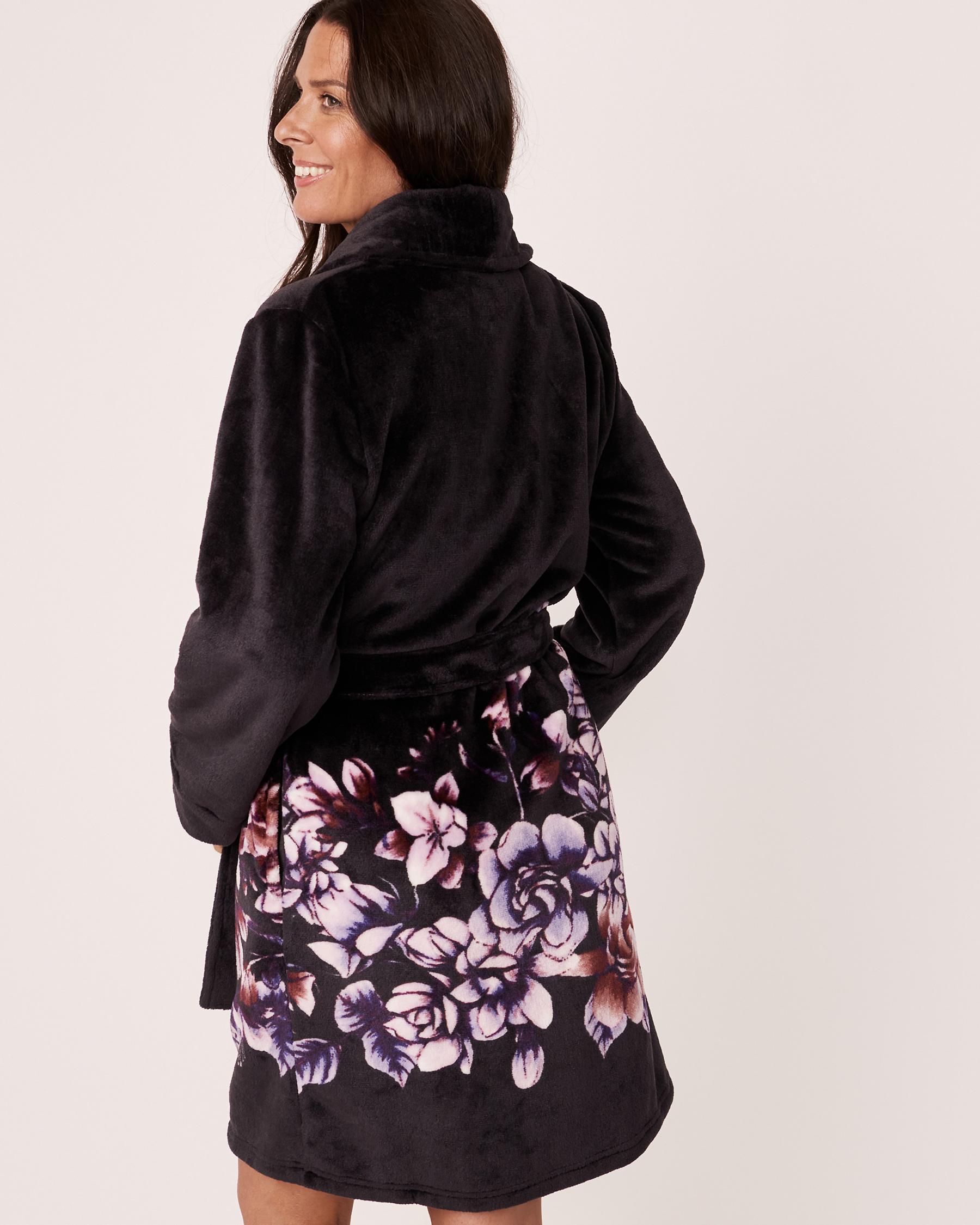 LA VIE EN ROSE Plush Robe Watercolor florals 40600032 - View2