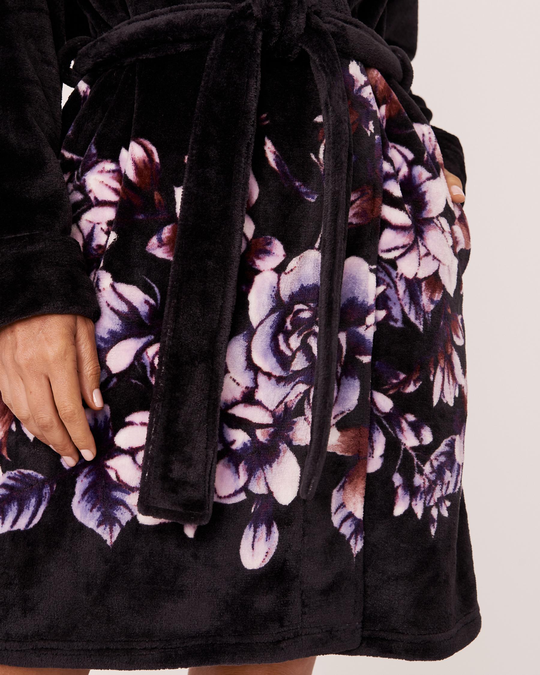 LA VIE EN ROSE Plush Robe Watercolor florals 40600032 - View3