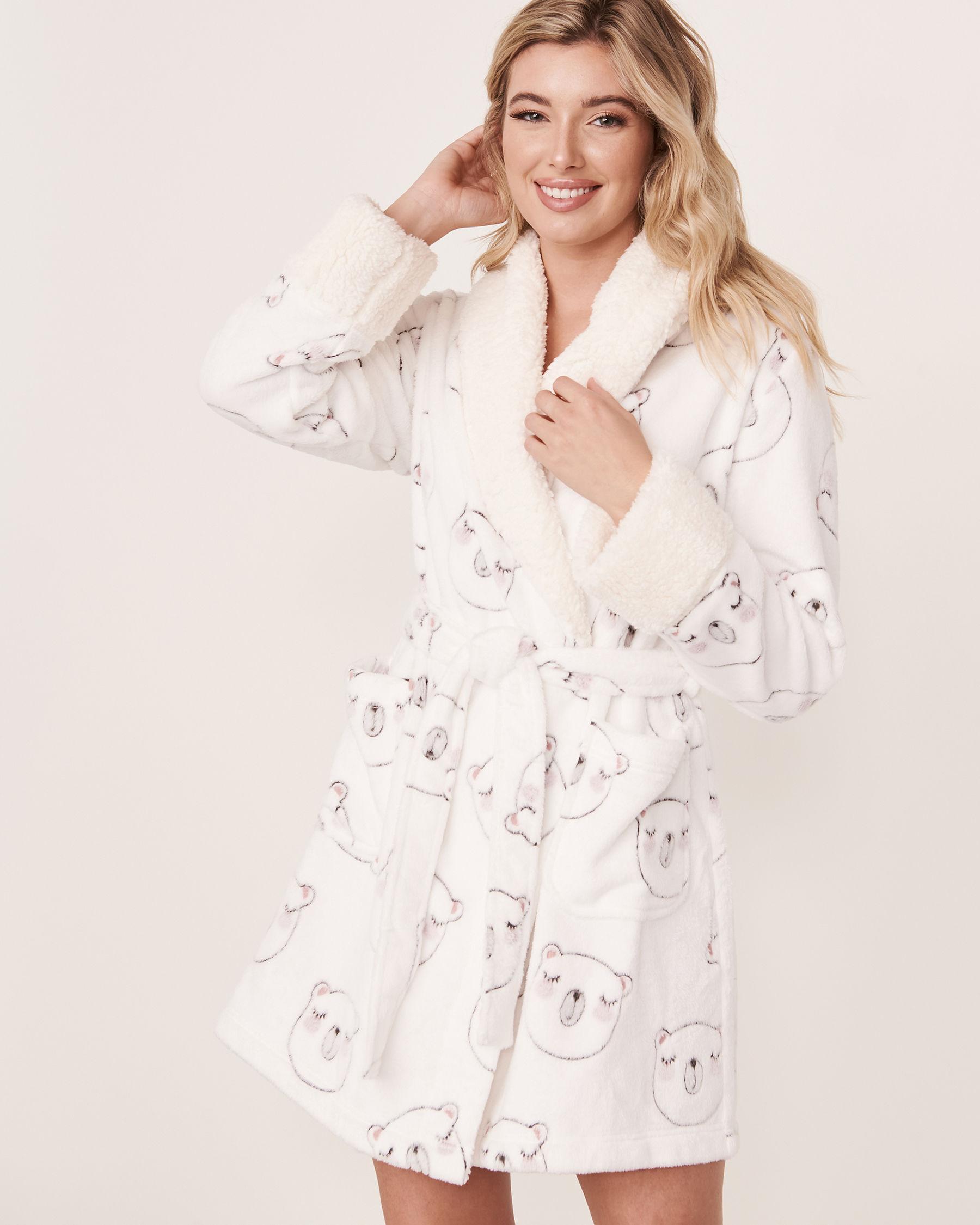 LA VIE EN ROSE Short Plush Robe Bear face 40600031 - View1