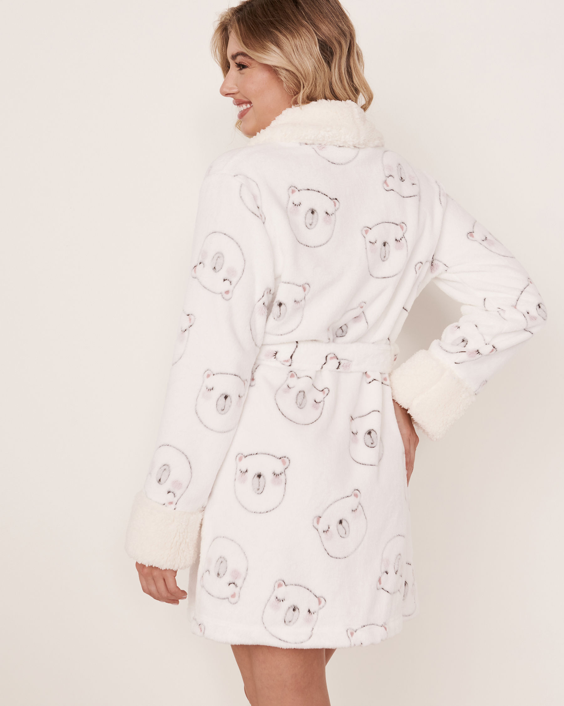 LA VIE EN ROSE Short Plush Robe Bear face 40600031 - View2