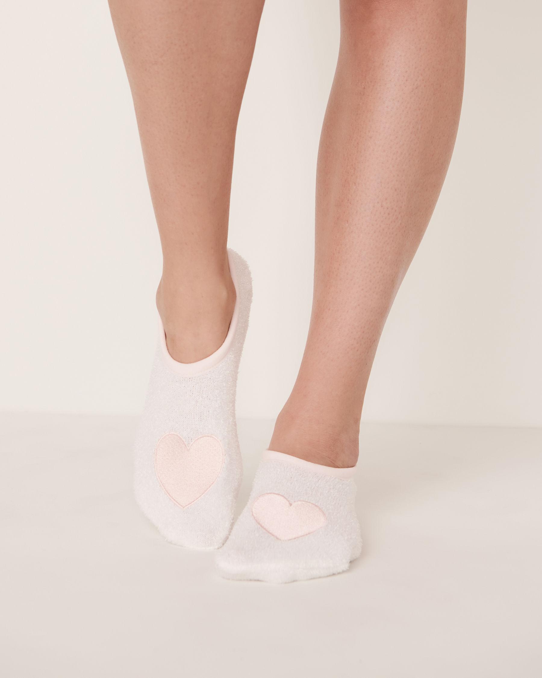 LA VIE EN ROSE Bas pantoufles en chenille Blanc 40700015 - Voir1