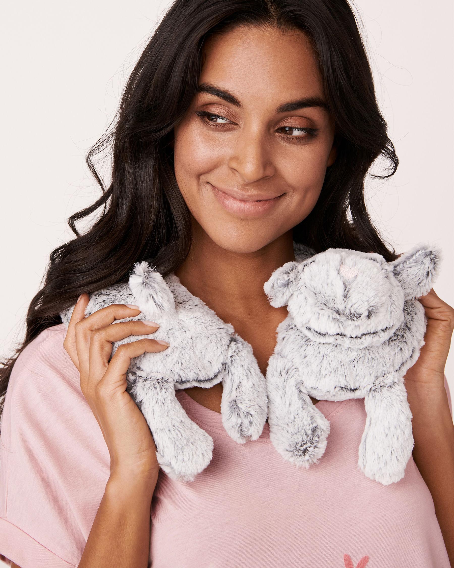 LA VIE EN ROSE Heatable Faux Fur Neck Pillow Grey 784-527-0-11 - View1