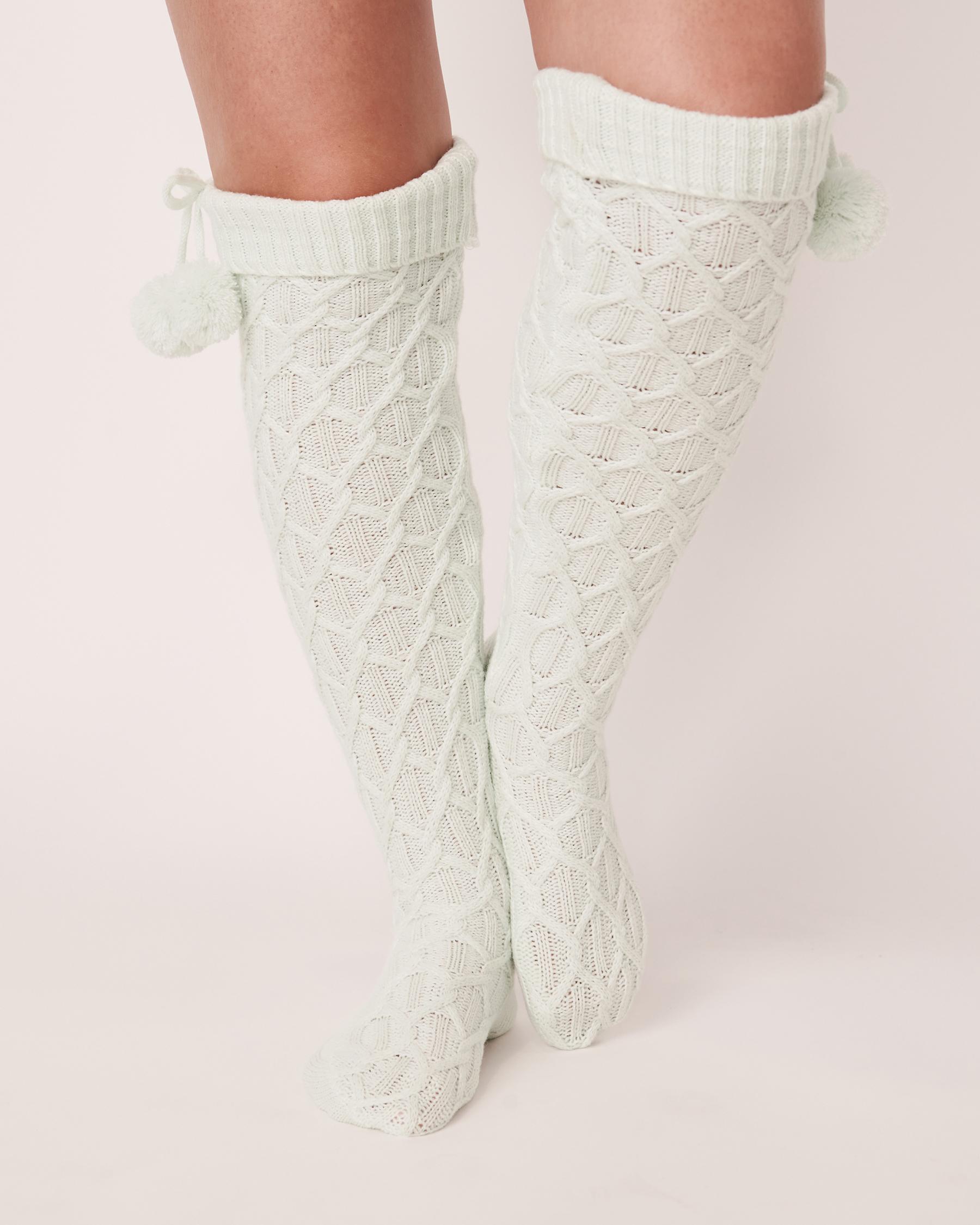 LA VIE EN ROSE Knitted Knee-high Socks Light aqua 40700079 - View1