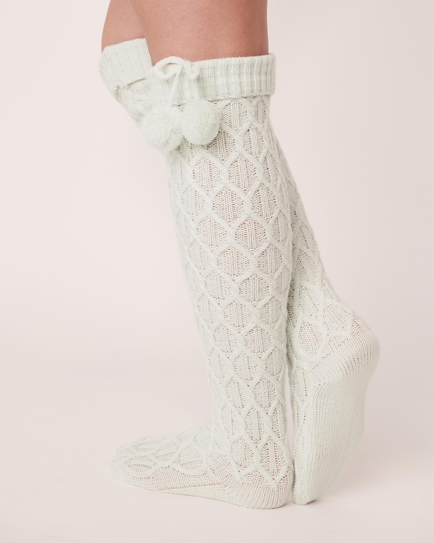 LA VIE EN ROSE Knitted Knee-high Socks Light aqua 40700079 - View2