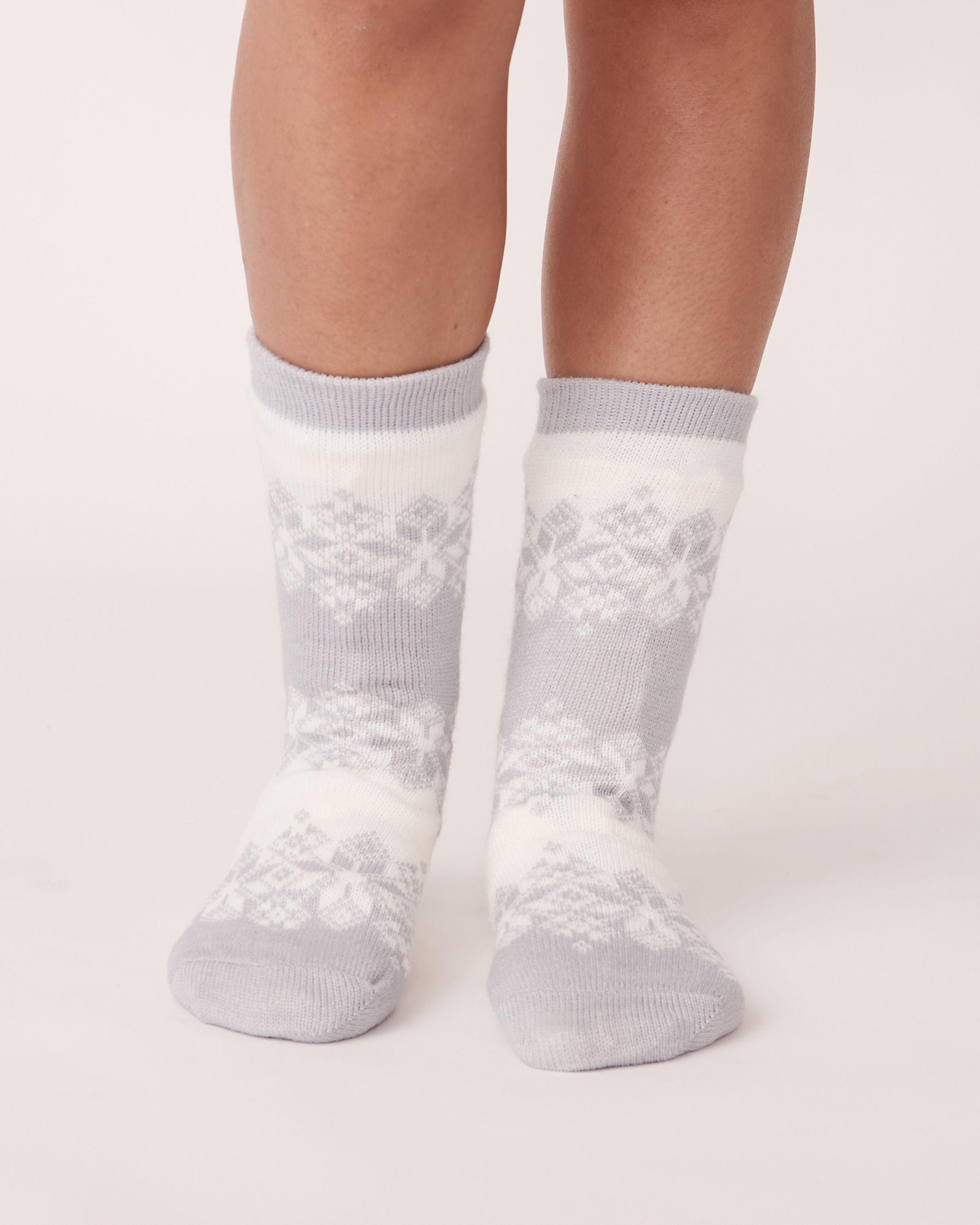 LA VIE EN ROSE Nordic Print Knit and Sherpa Socks Grey winter 554-514-0-09 - View1