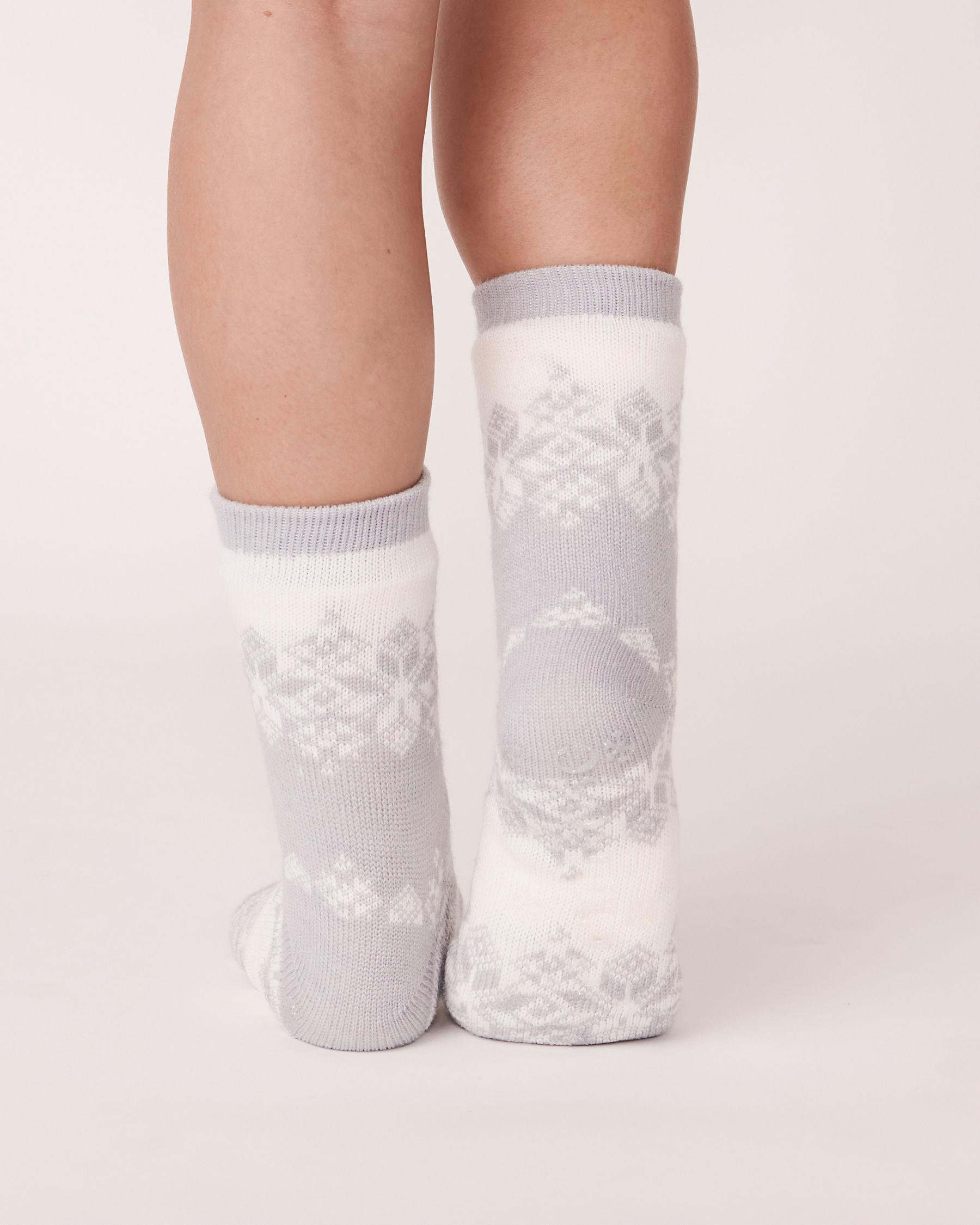 LA VIE EN ROSE Nordic Print Knit and Sherpa Socks Grey winter 554-514-0-09 - View2