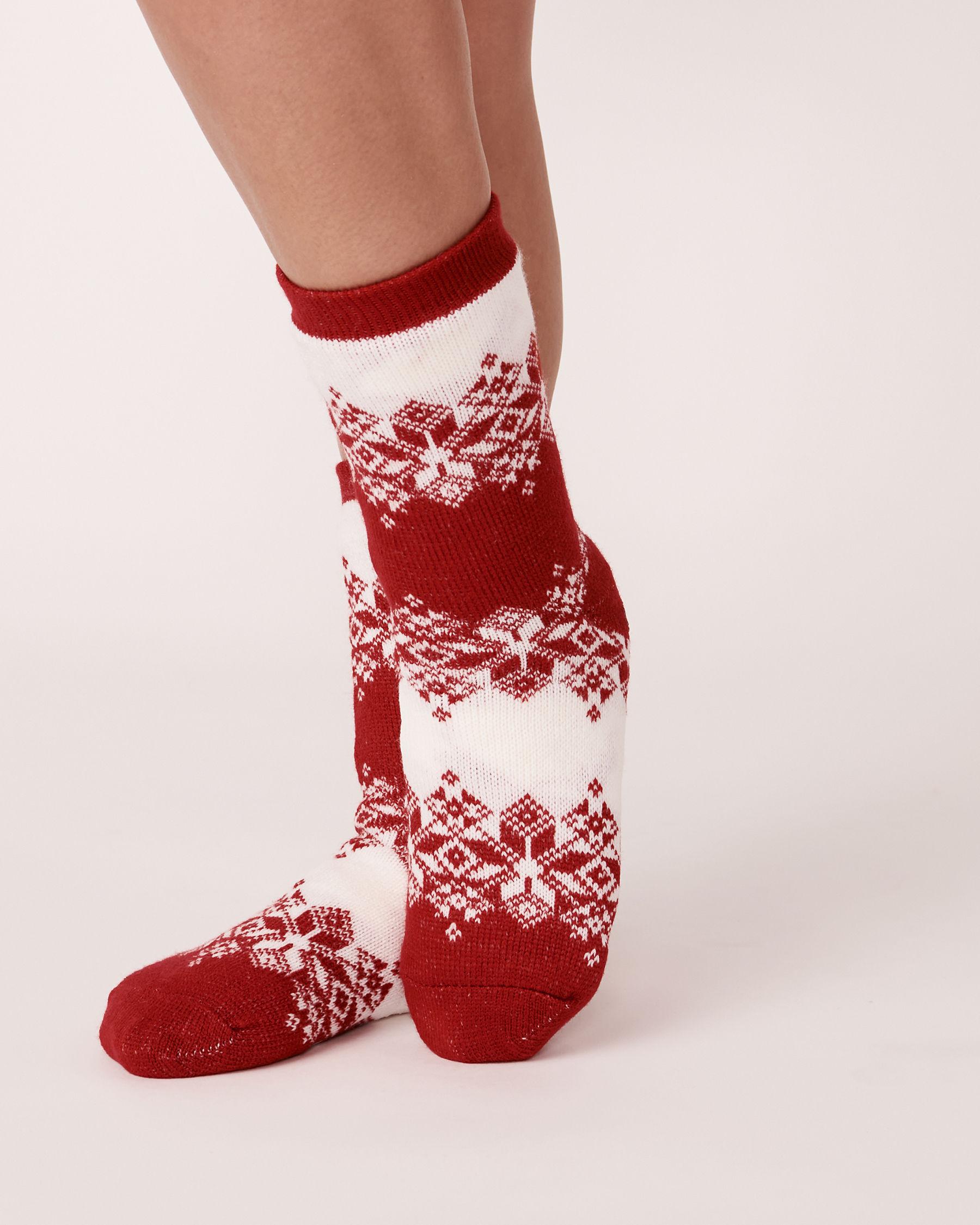 LA VIE EN ROSE Bas en tricot et sherpa imprimé nordique Hiver rouge 554-514-0-09 - Voir1