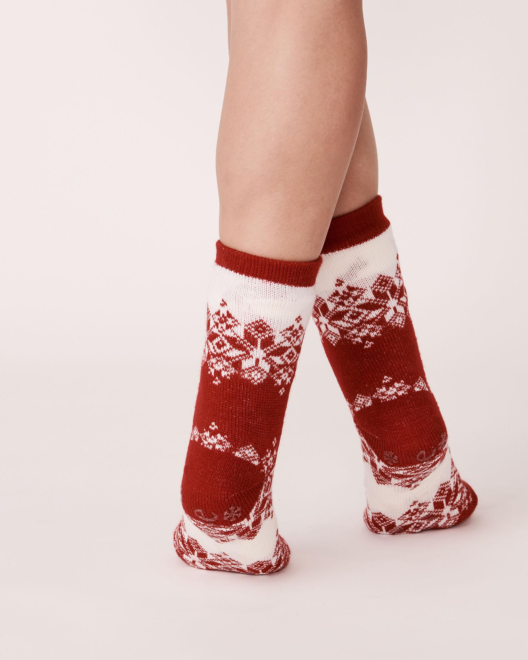 LA VIE EN ROSE Bas en tricot et sherpa imprimé nordique Hiver rouge 554-514-0-09 - Voir2