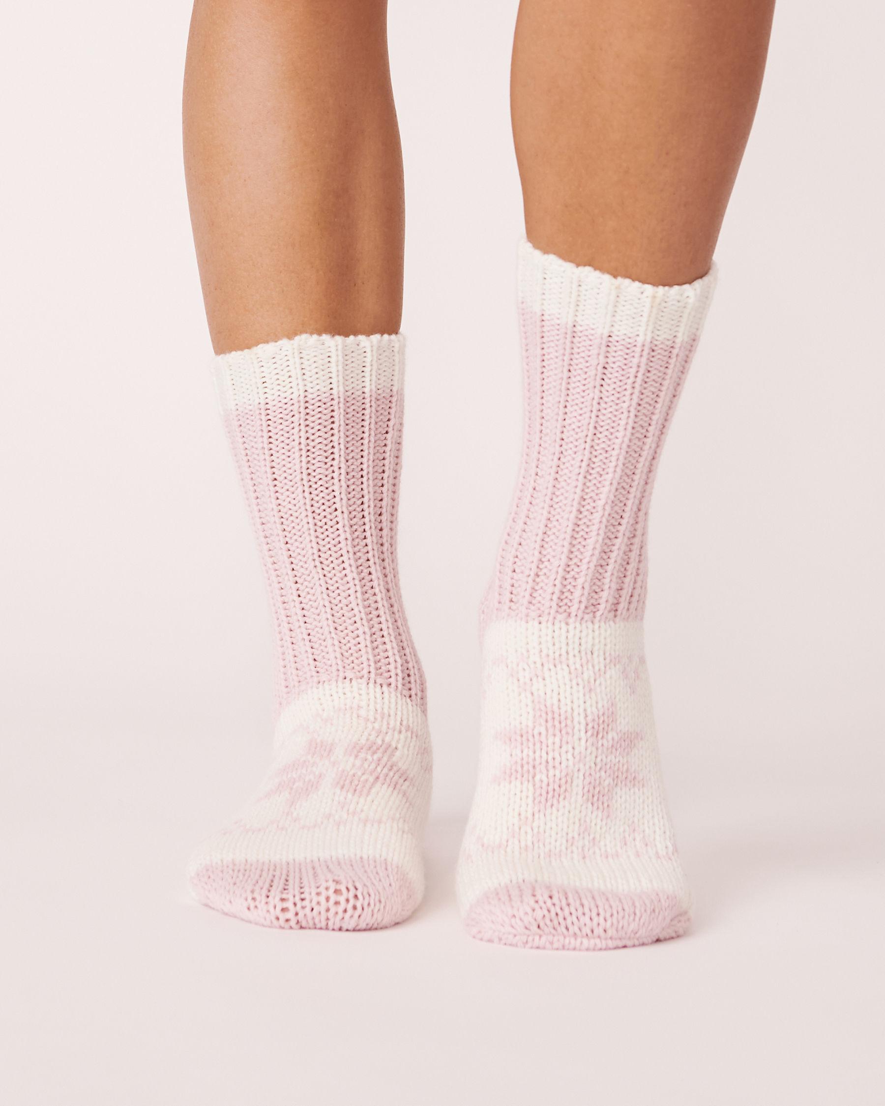 LA VIE EN ROSE Bas en tricot imprimé nordique Rose 559-514-0-09 - Voir1