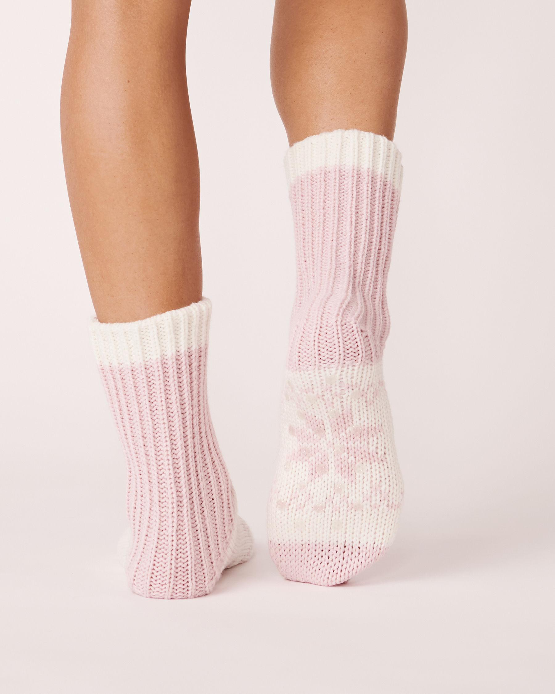 LA VIE EN ROSE Bas en tricot imprimé nordique Rose 559-514-0-09 - Voir2