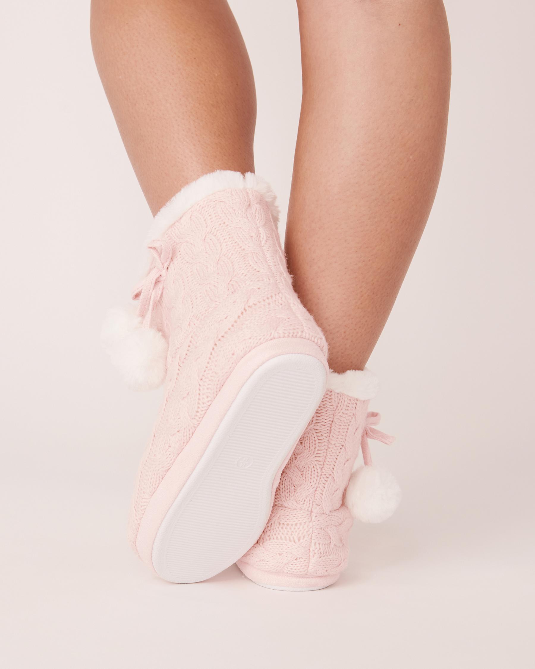 LA VIE EN ROSE Pompoms Bootie Slippers Light pink 40700075 - View2