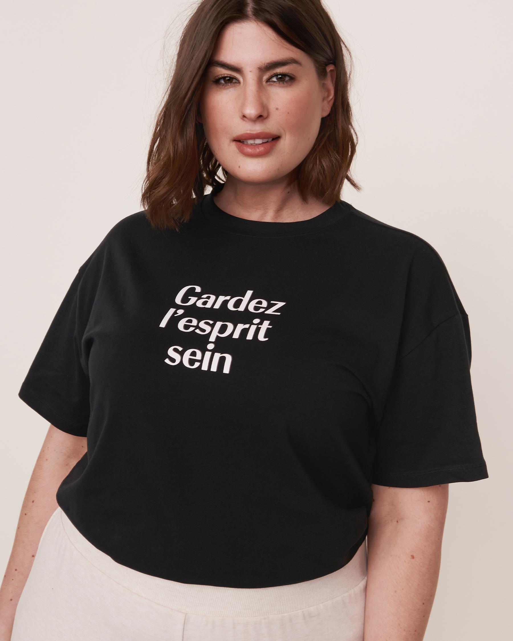LA VIE EN ROSE T-shirt Gardez l'esprit sein Noir 90400001 - Voir7
