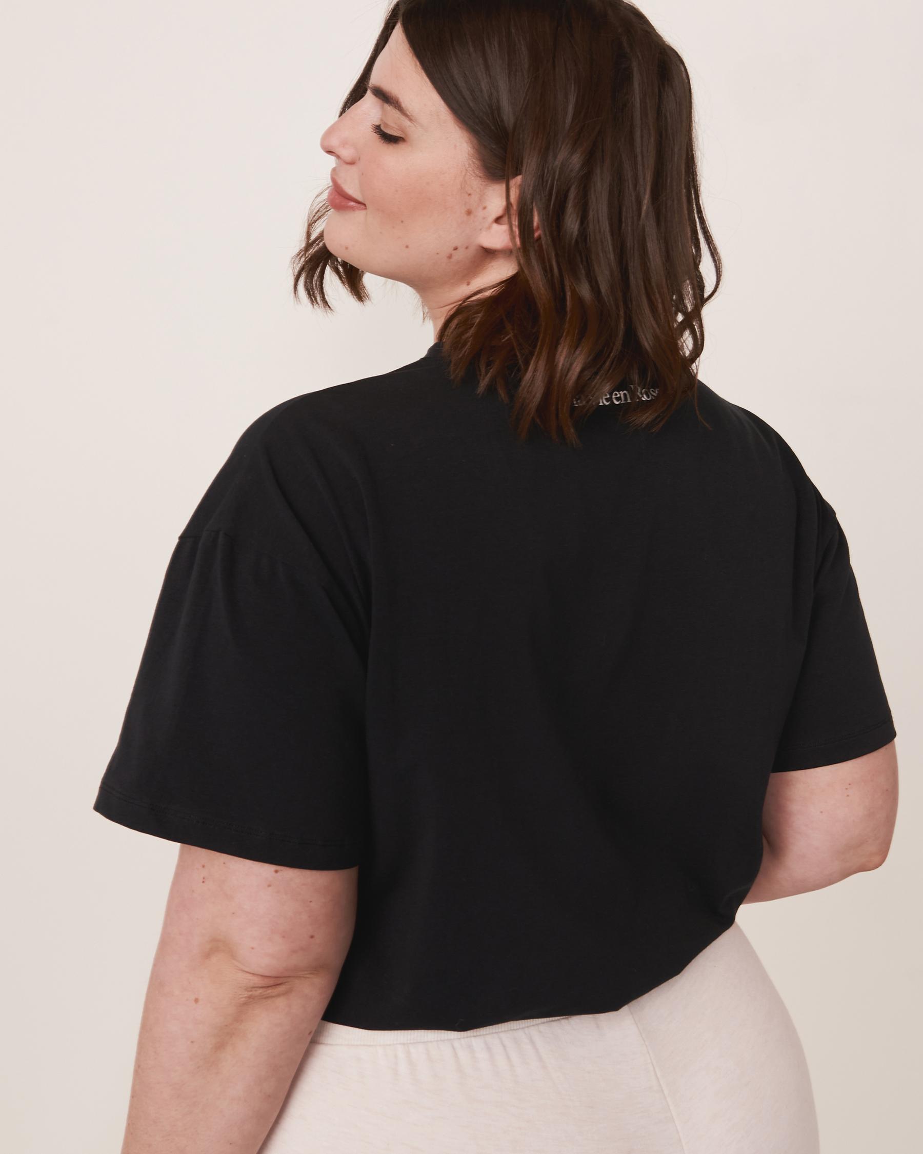 LA VIE EN ROSE T-shirt Gardez l'esprit sein Noir 90400001 - Voir8